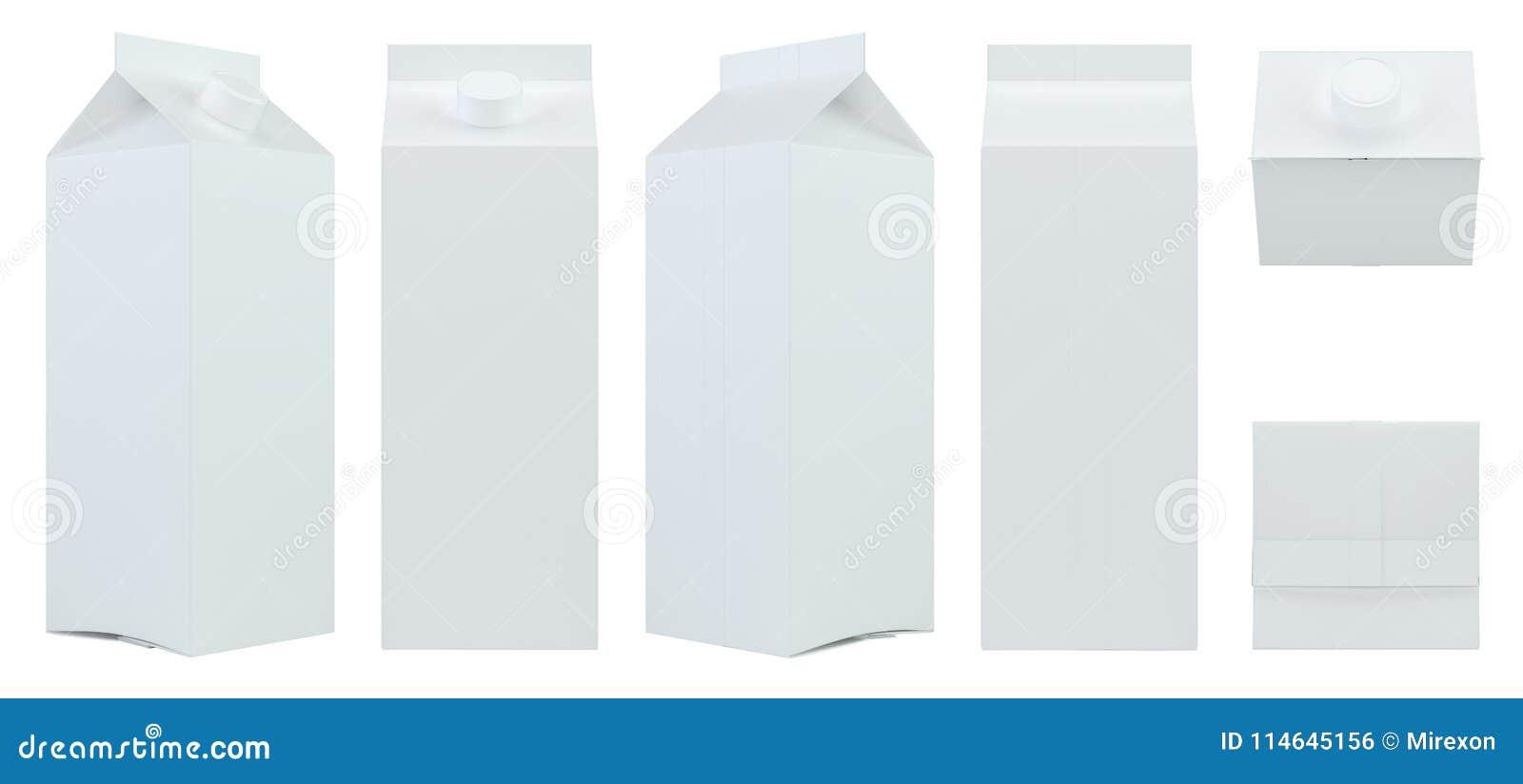 Stellen Sie weißen freien Raum des Milch- oder Saftkartonverpackungspaket-Kastens ein Wiedergabe 3d