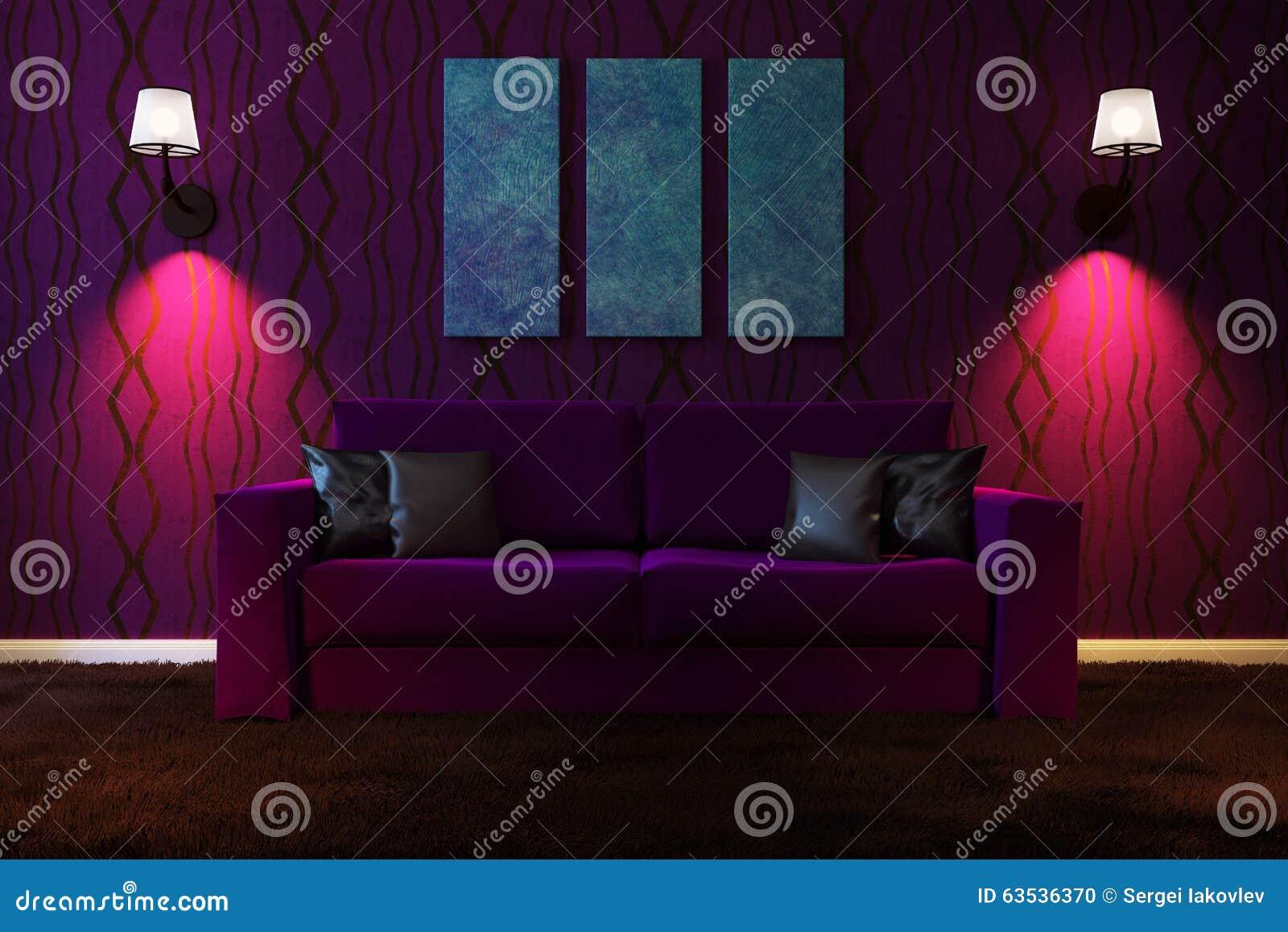Stellen Sie Wohnzimmer Mit Der Kunstlichen Beleuchtung Dar Die In