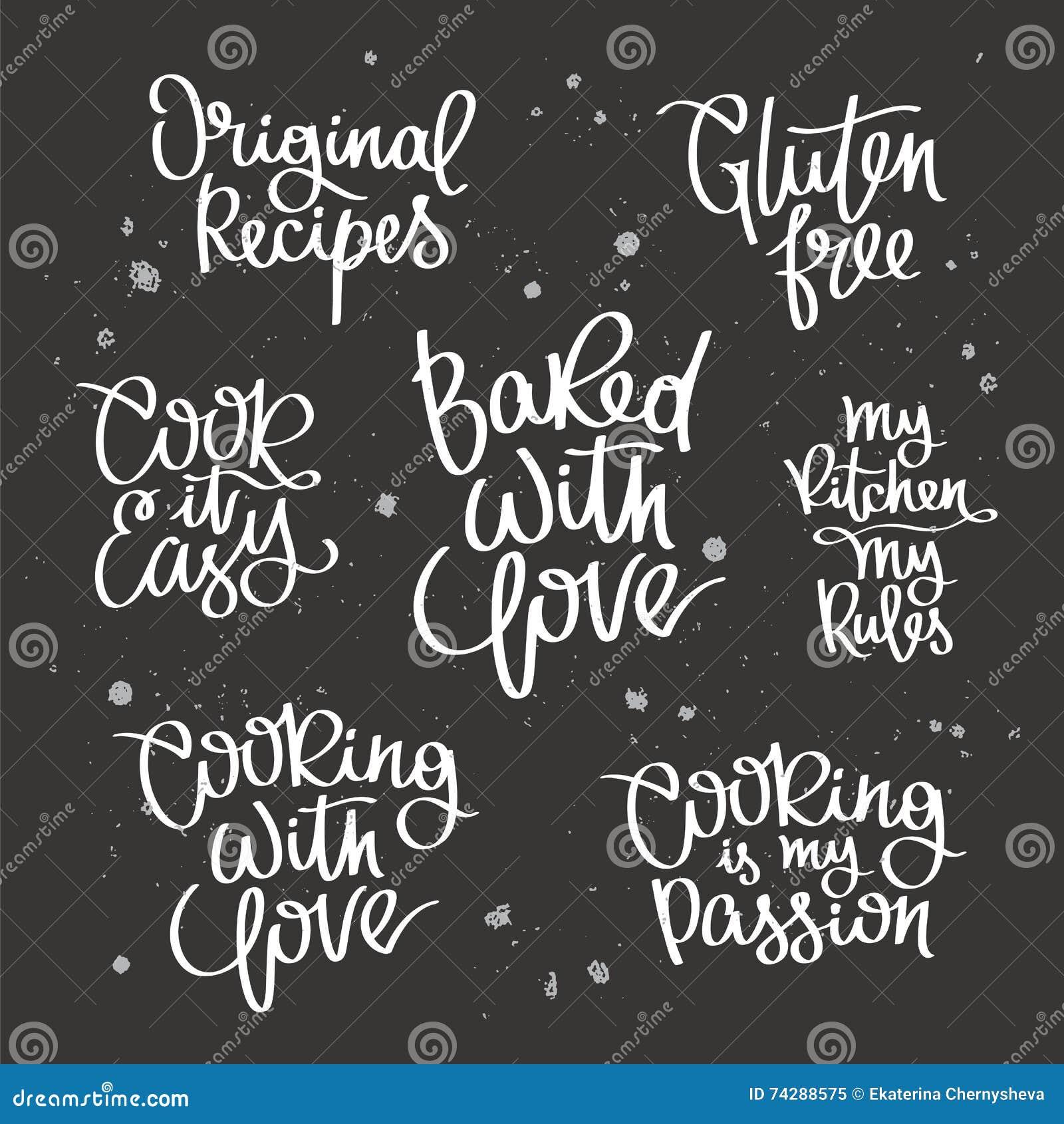 Stellen Sie Zitate über Das Kochen Ein Vektor Abbildung ...