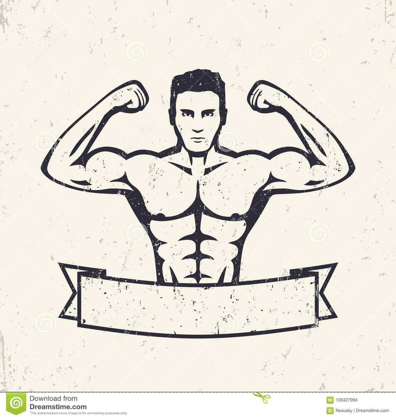 Stellende atleet, sterke bodybuilder