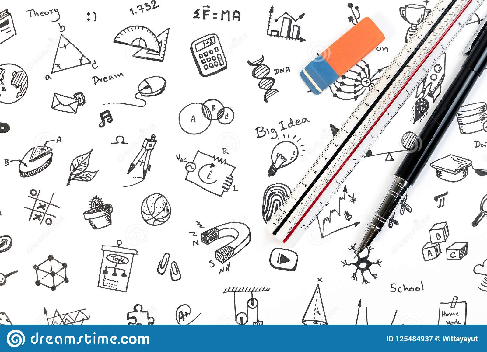 STEM education background concept. STEM - science, technology, engineering and mathematics background with pen, ruler and doodle.