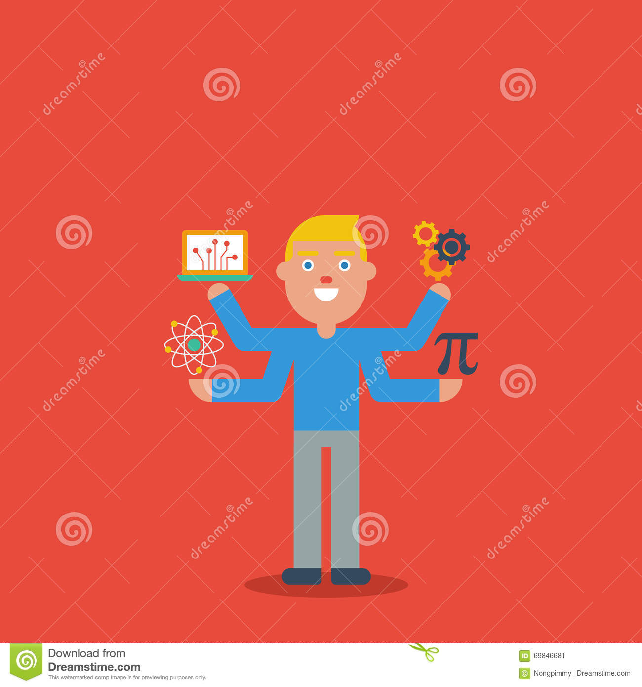 Science Technology Engineering Math: STEM Education Character Concept Stock Vector