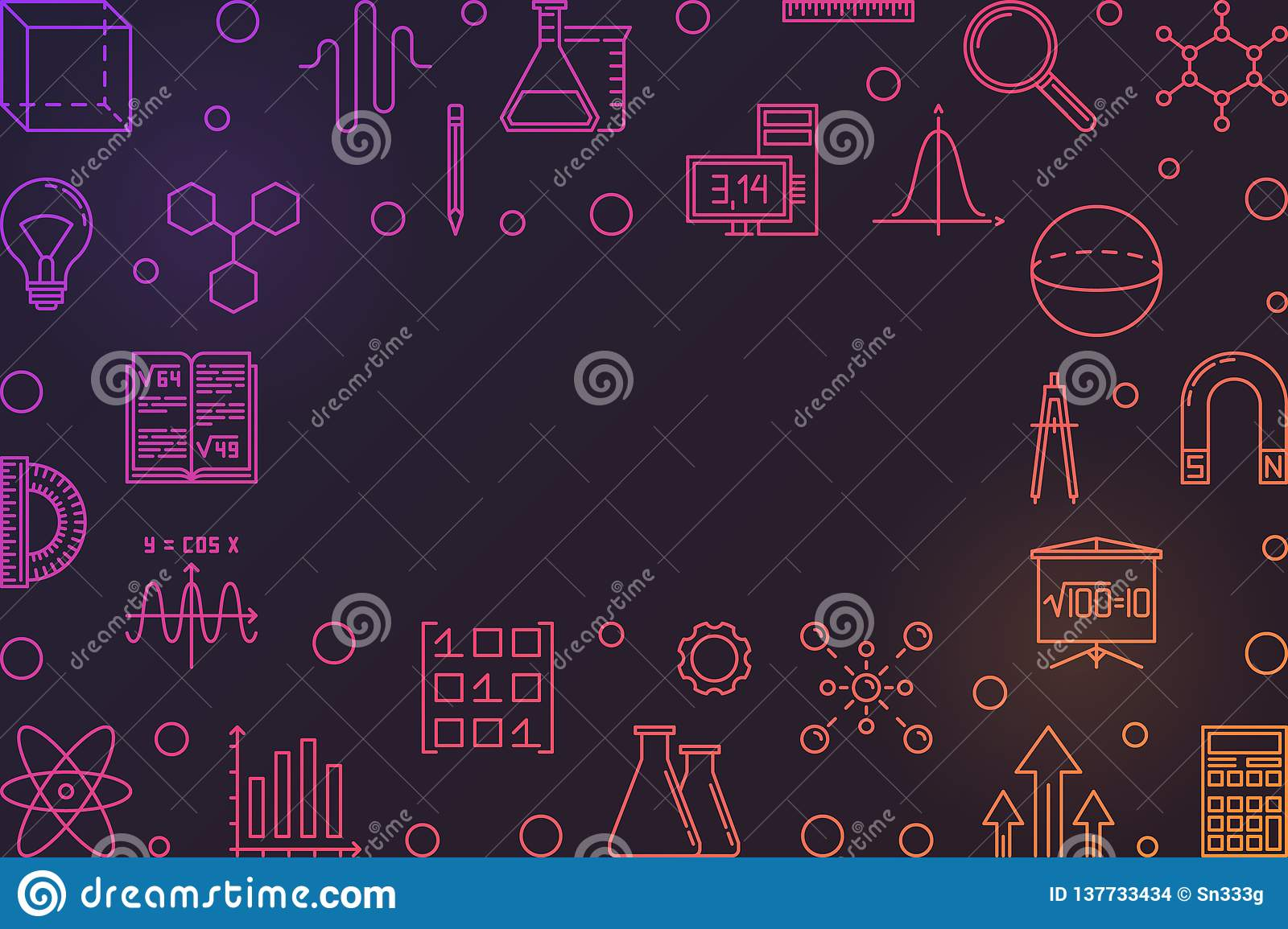 Stem Education Vector Colorful Frame With Dark Background Stock Vector Illustration Of Innovation Element 137733434