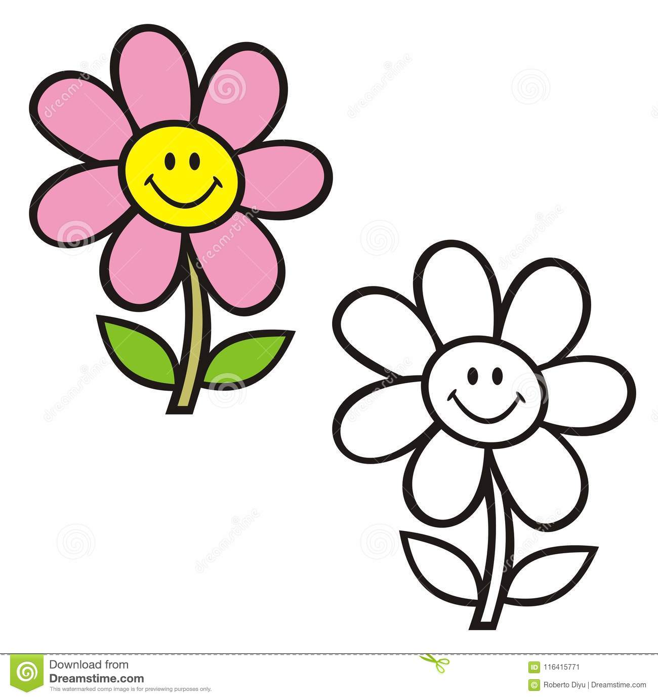 Stem And Flower With Smiley Face. Coloring Book. Stock Vector ...