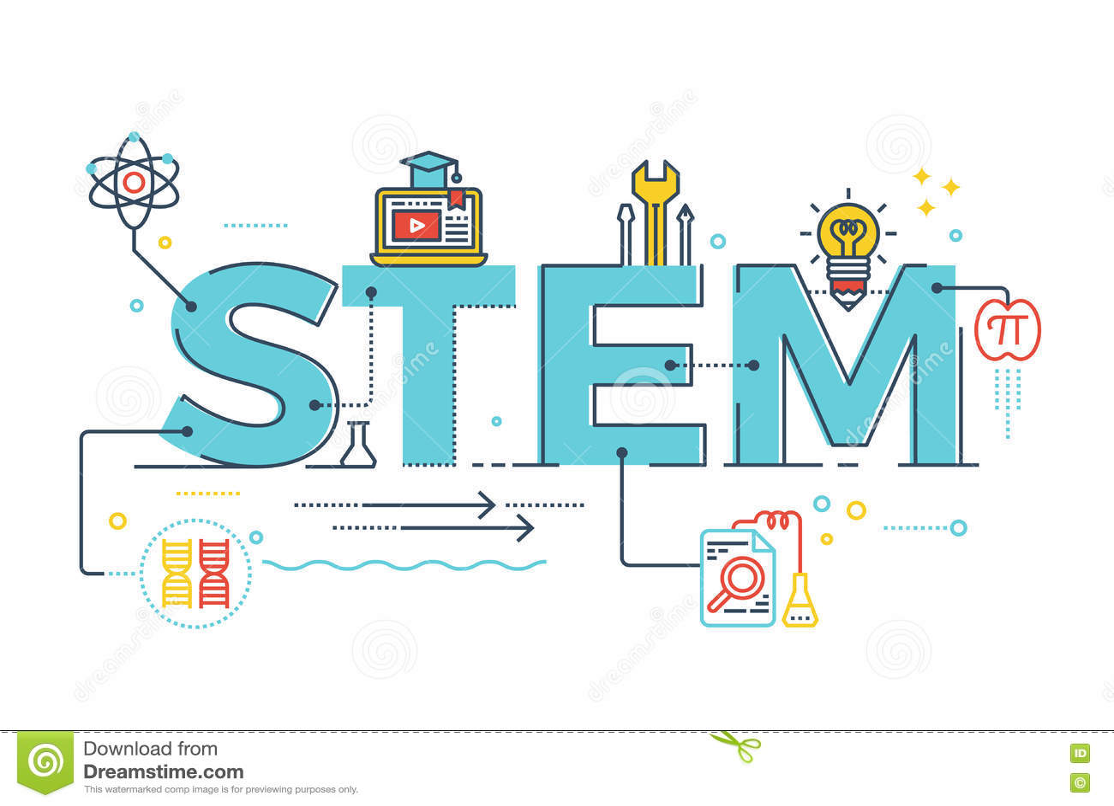 stem science technology engineering mathematics stock vector illustration of science