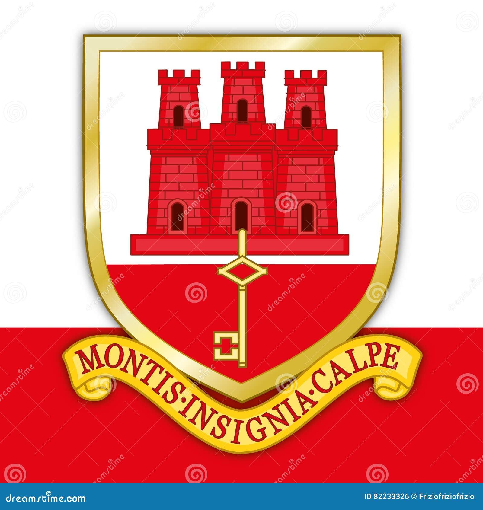 Stemma E Bandiera Di Gibilterra Illustrazione Vettoriale