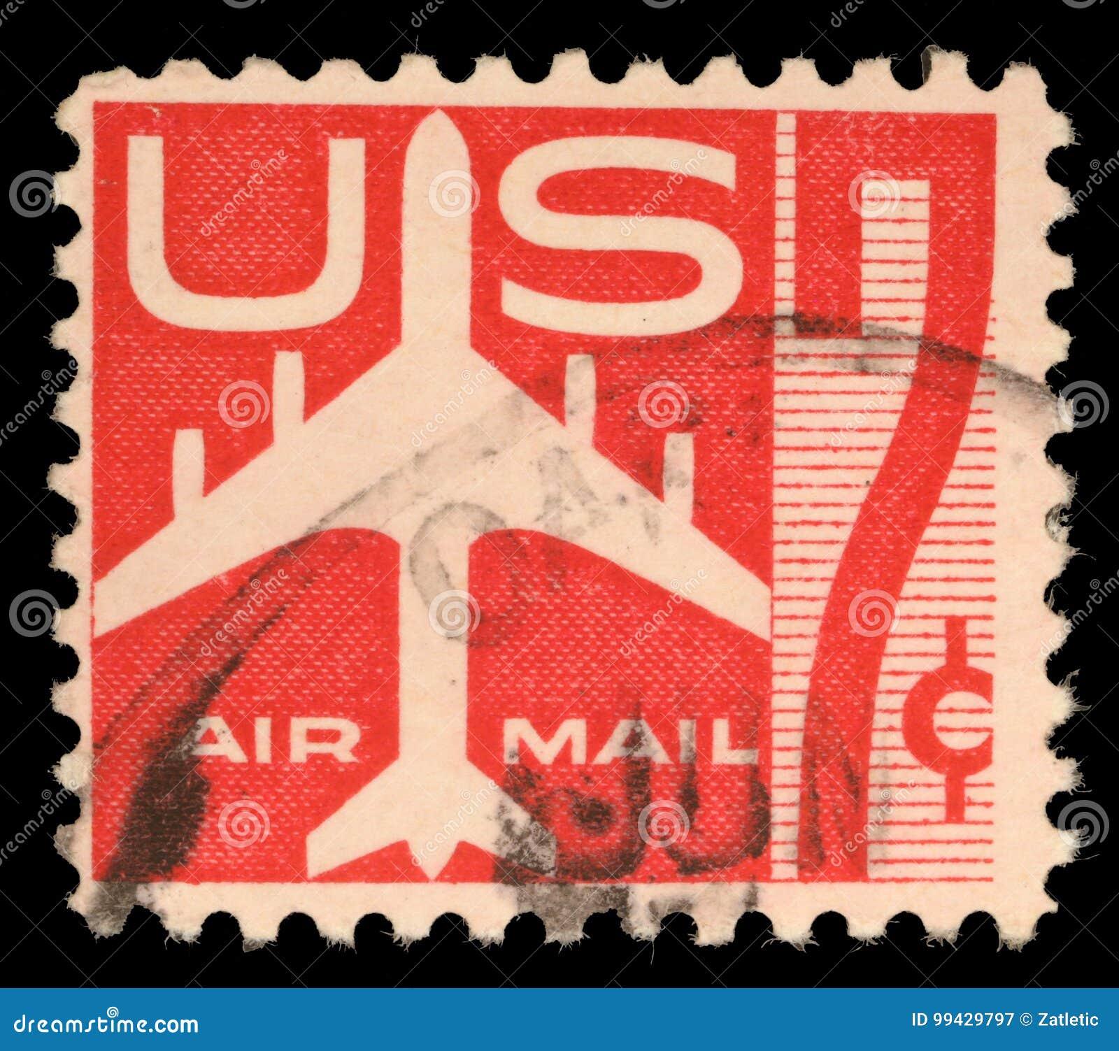 Stempel druckte in US, die Luftpostsymbole und die Druck Luftpost zeigen