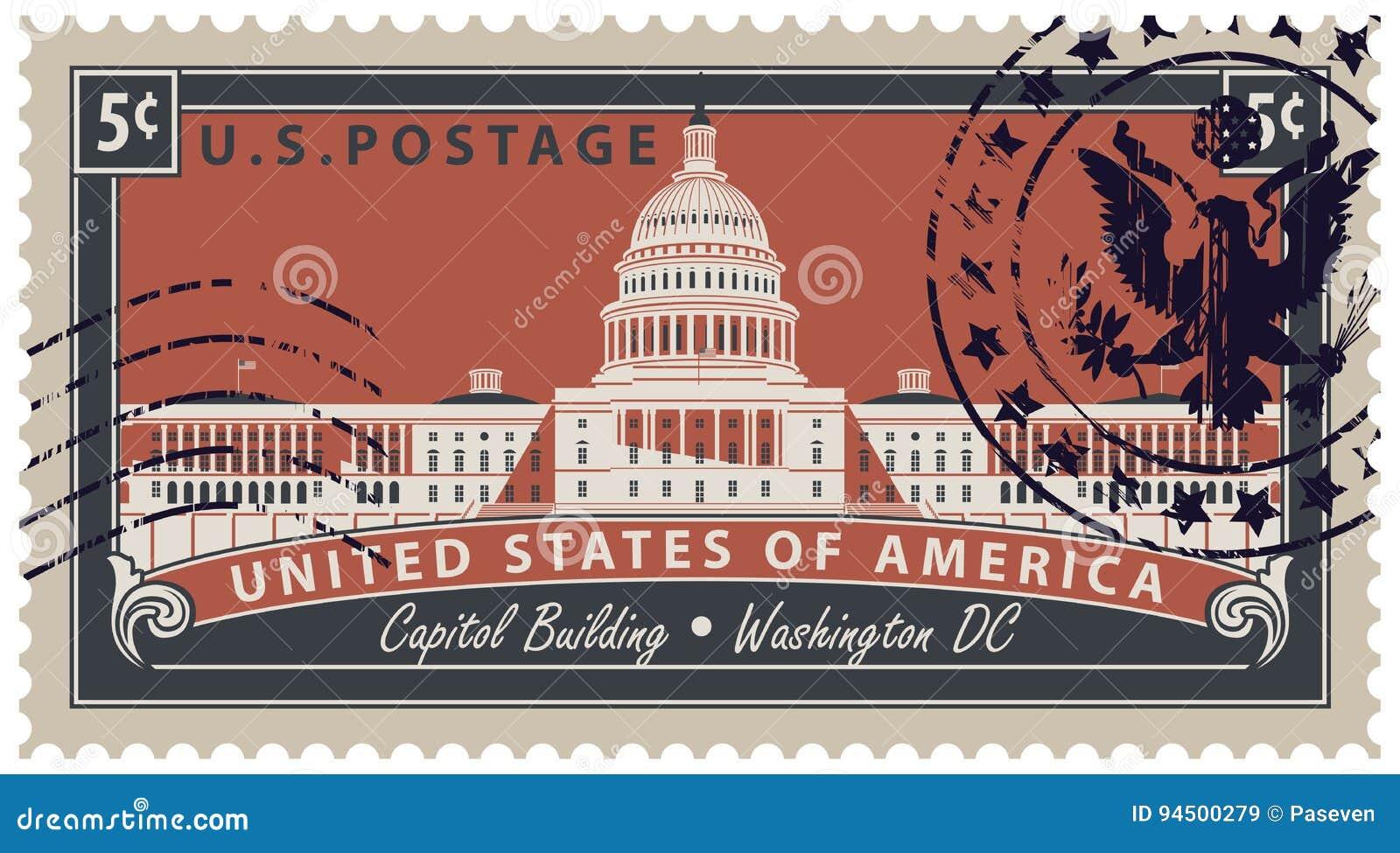 Stempluje z wizerunkiem USA Capitol w washington dc