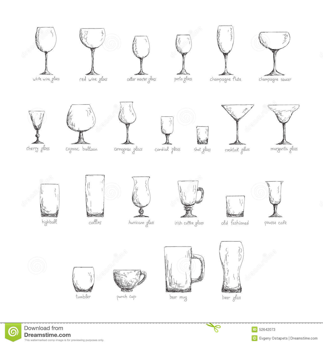 Stemware Set Black And White Stock Vector Image 52642073