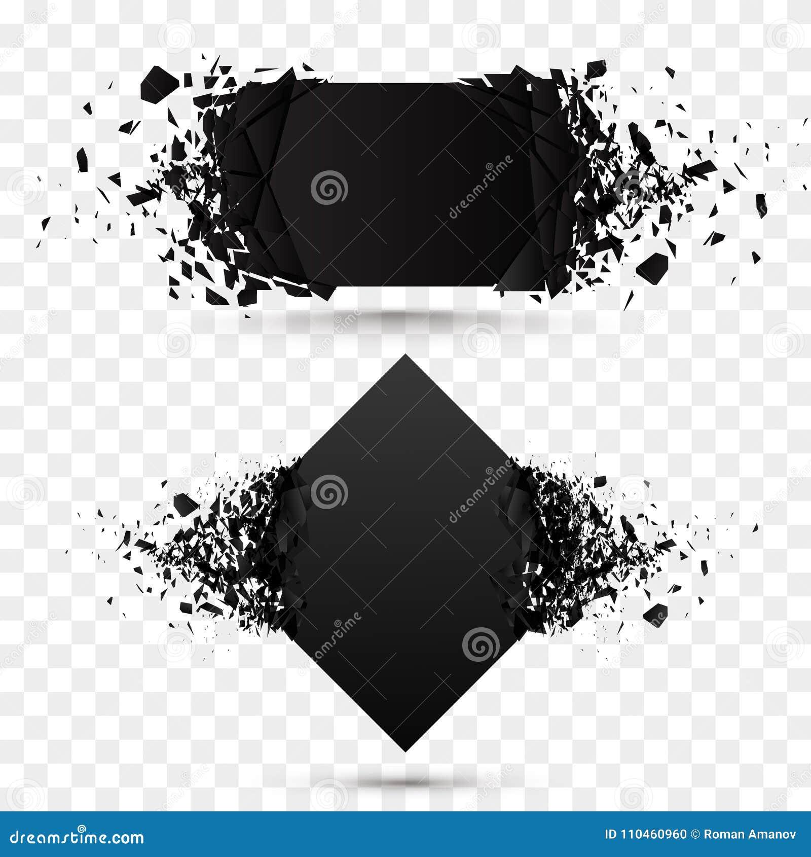 Sten för svart fyrkant med isolerat skräp Abstrakt svart explosion Bakgrund