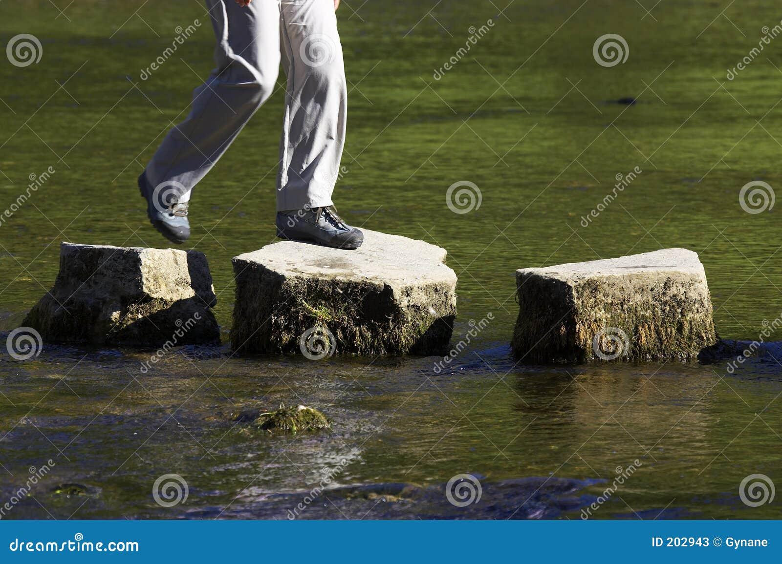 Stenar tre för gå för crossingflod