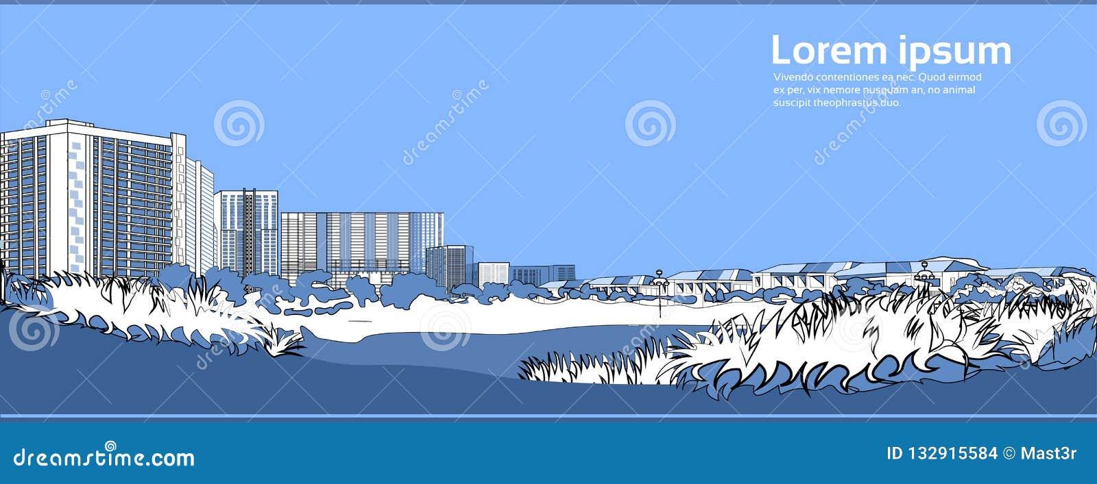 Stenbro över utrymme för kopia för baner för blå för bakgrund för flodcityscape för stad för byggnader sikt för landskap horisont