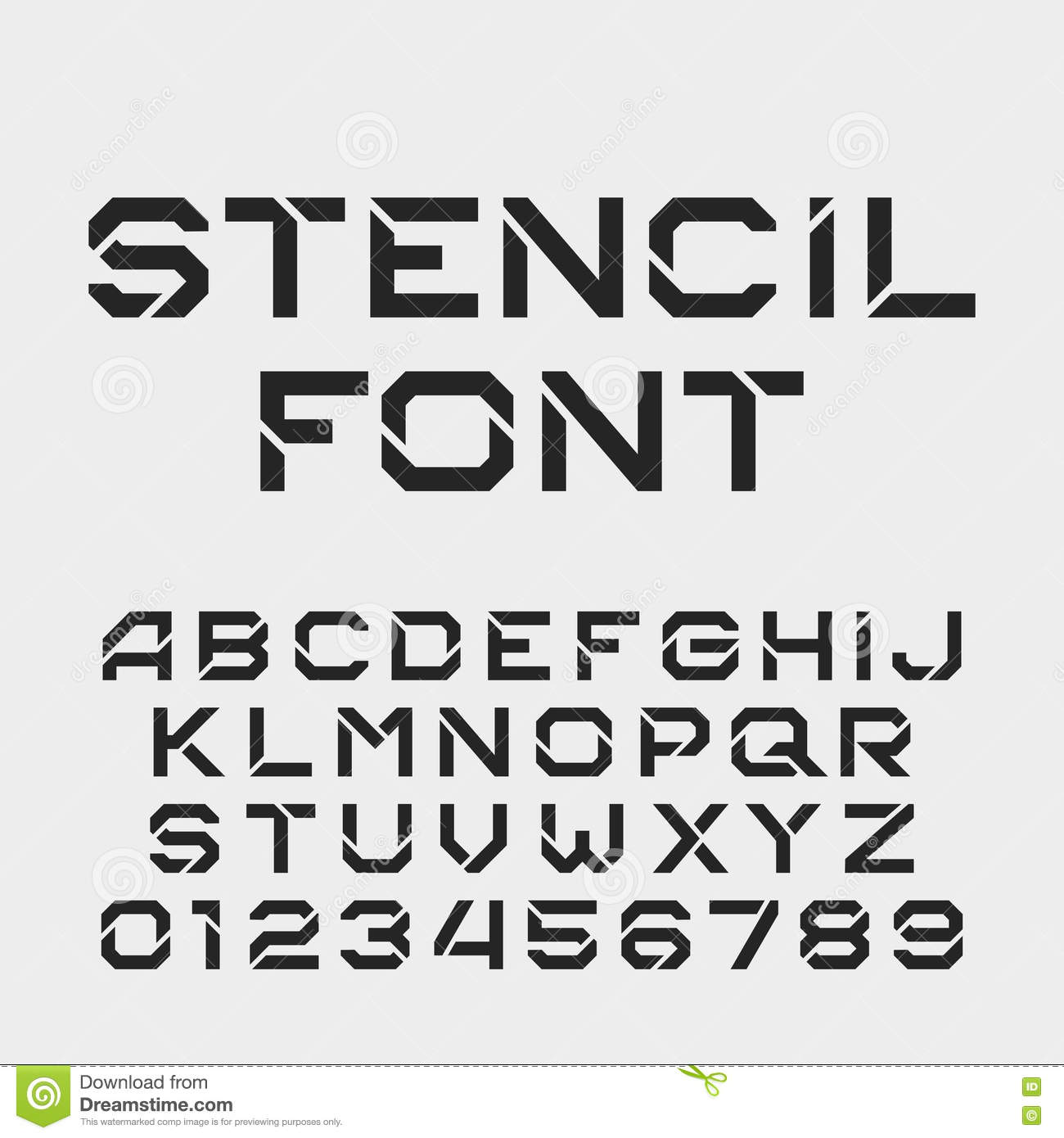 Stencil Alphabet Font  Tough Type Letters And Numbers  Stock