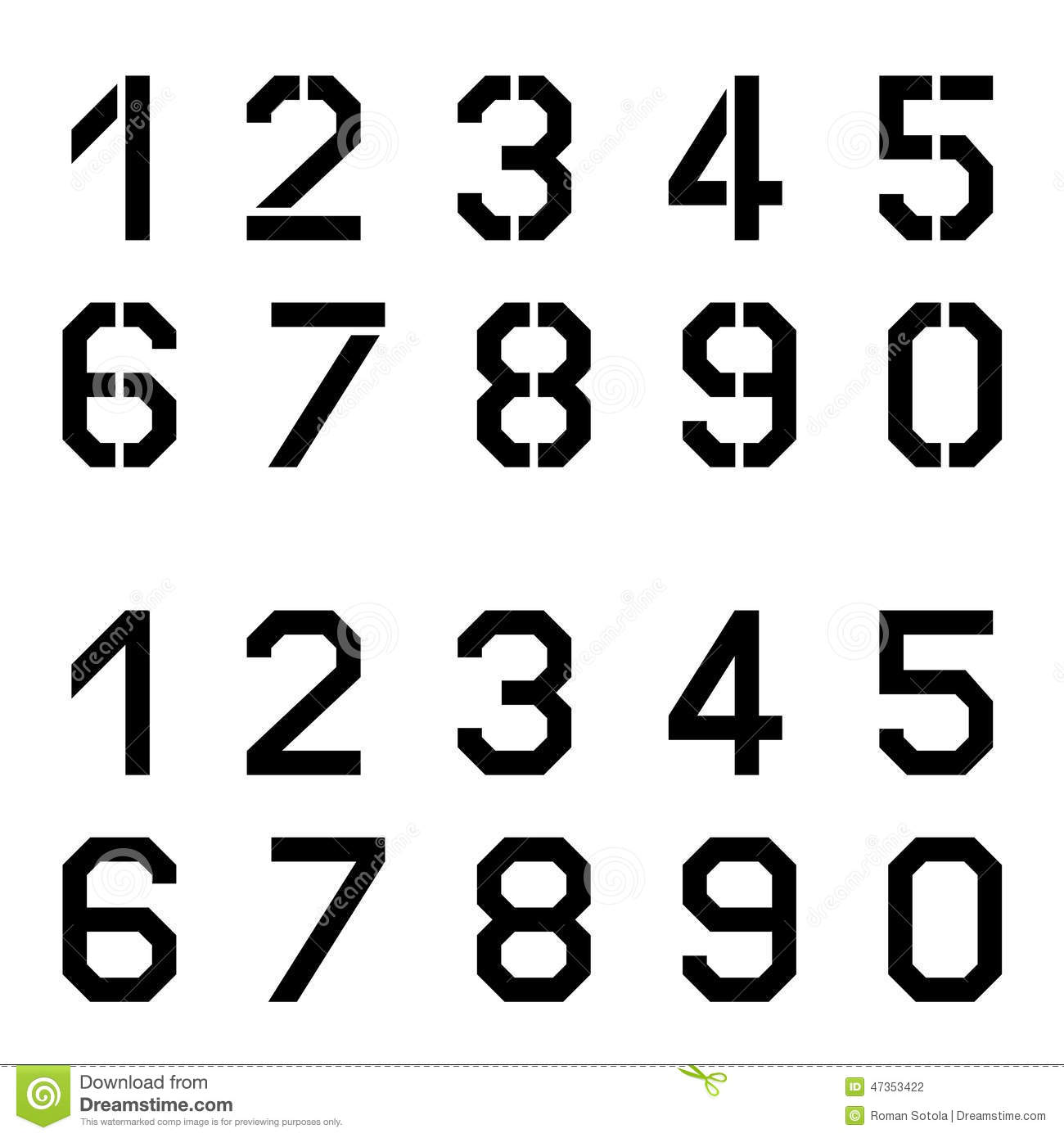 Stencil Angular Font Numbers Stock Vector - Image: 47353422