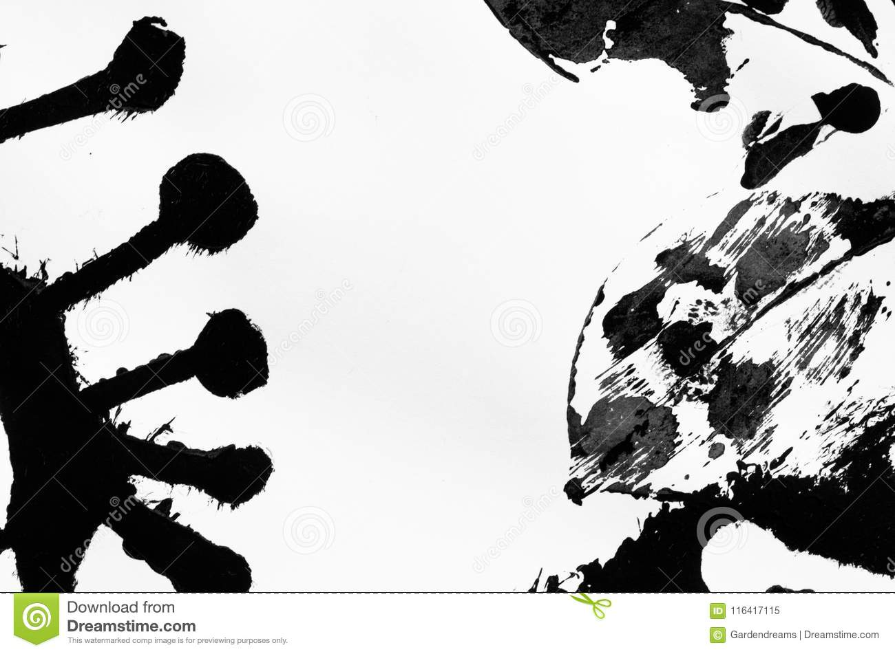 Abstract Stencil Art, Black Ink Print Stock Image - Image of