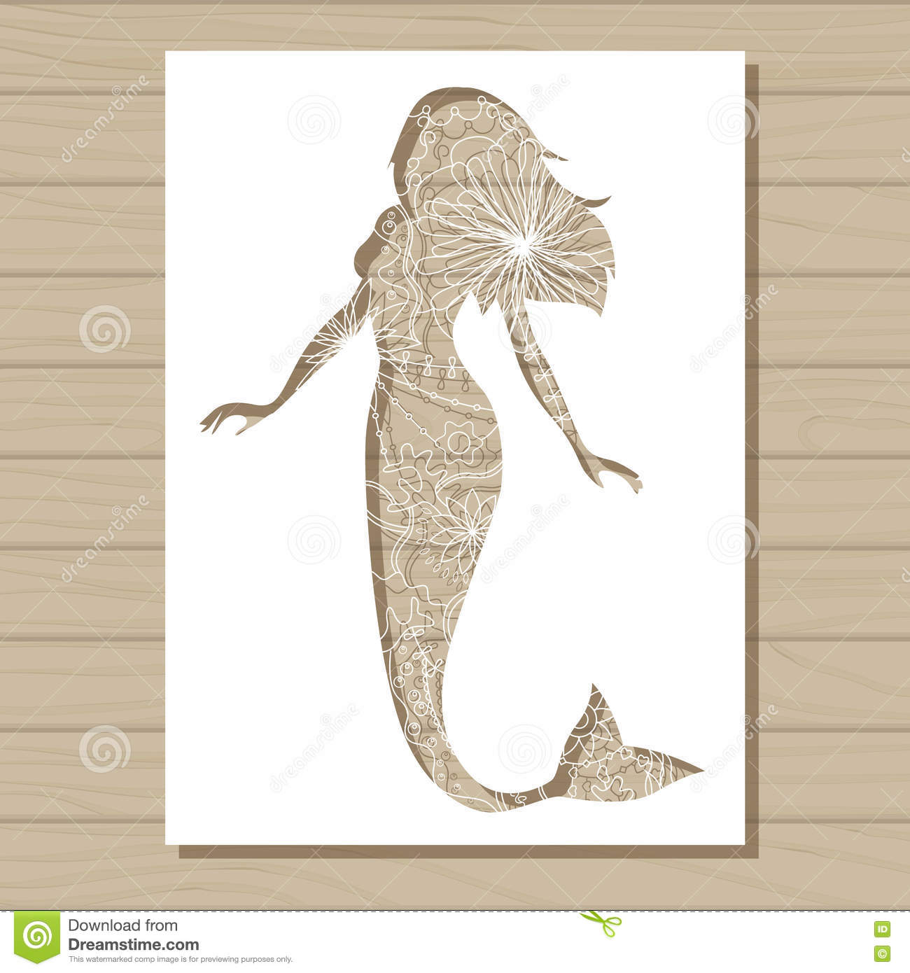 stencil template of mermaid on wooden background stock illustration