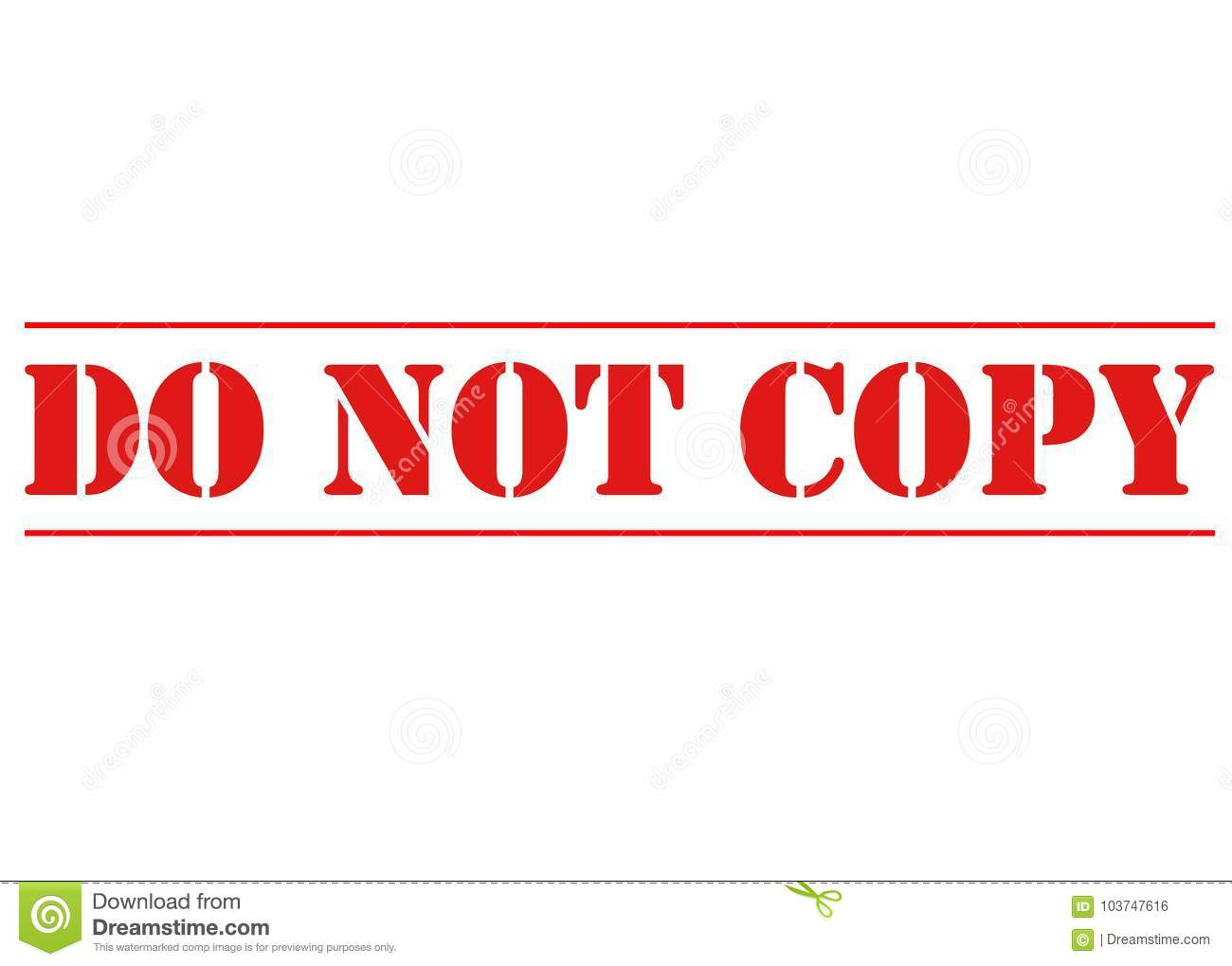 RED DO NOT COPY STENCIL stock photo  Illustration of type - 103747616