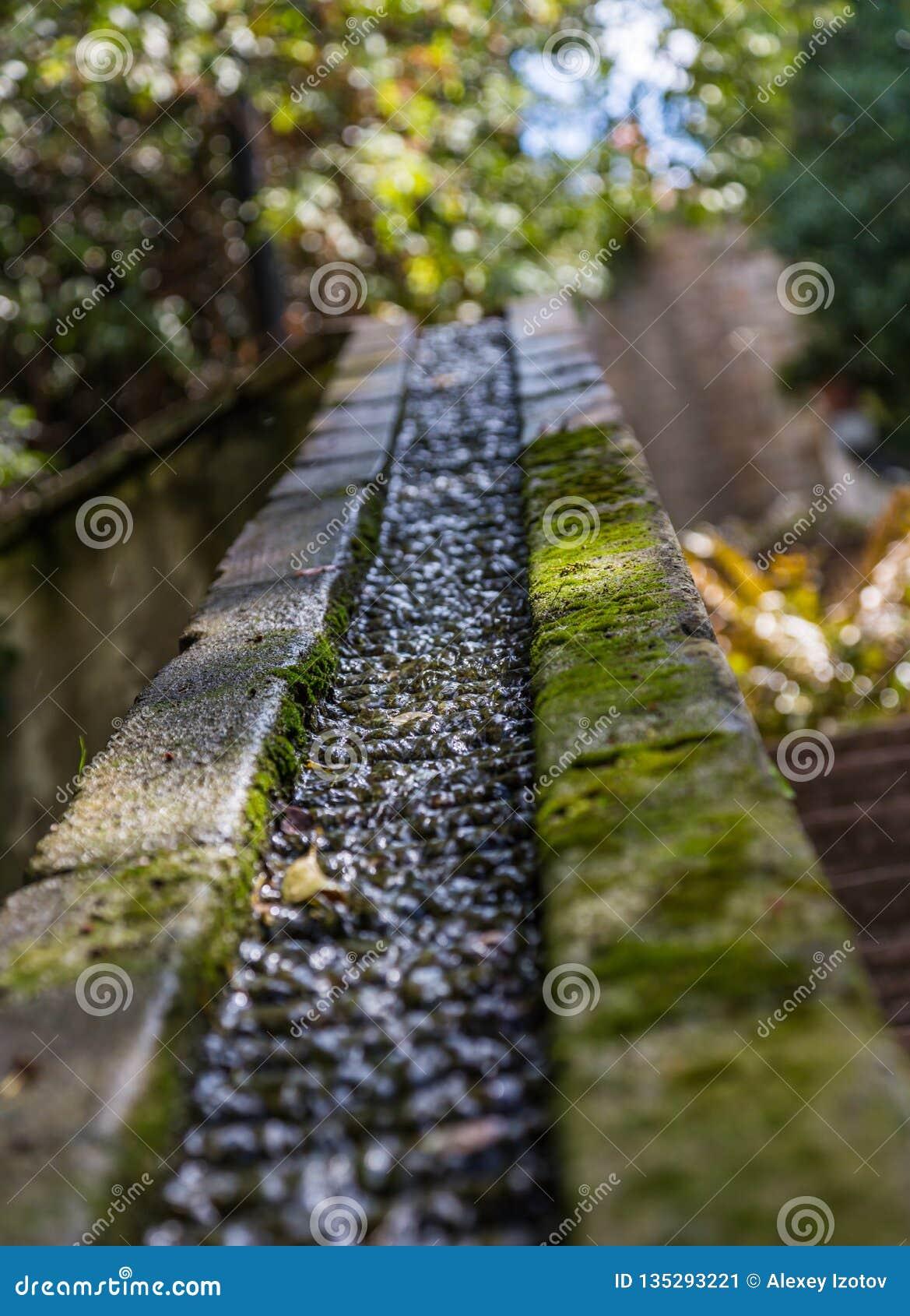 Stenho som vatten flödar till och med i en trädgård i Barcelona, Spanien