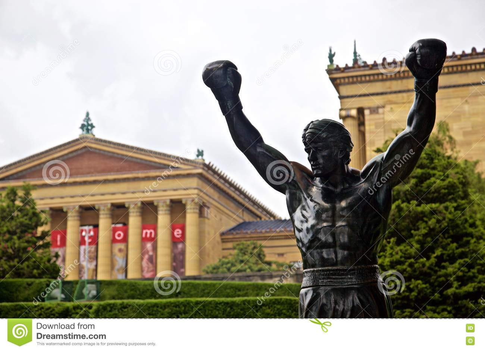 Stenig balboastaty på konstmuseet philadelphia