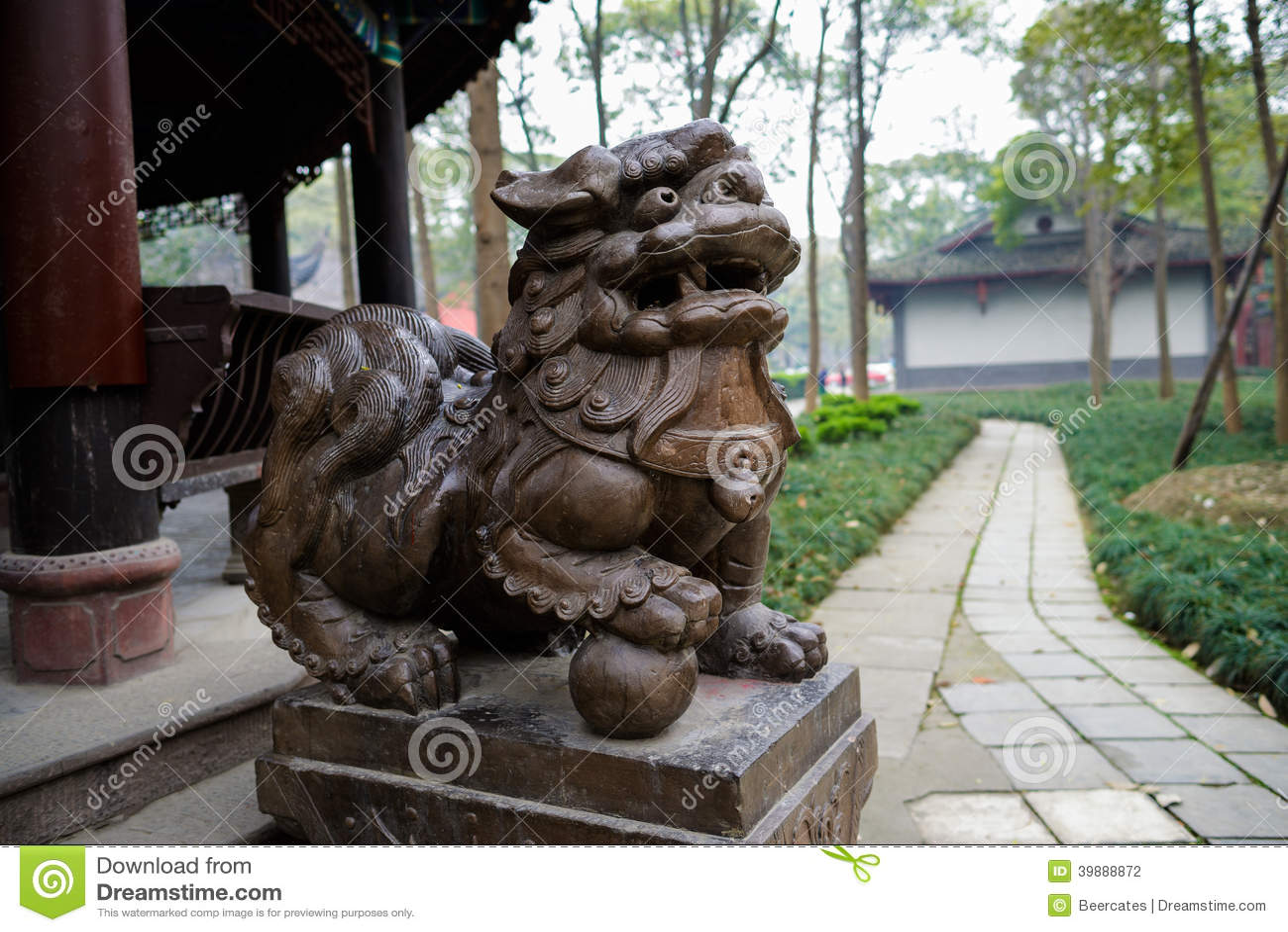 Stenlejon för paviljongen, Chengdu