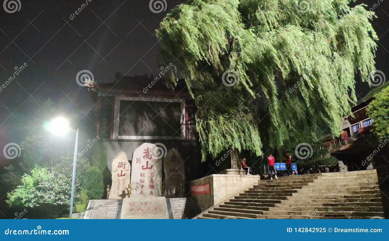 Stenmonument under de nattljuset och pilarna som blåsas av vinden