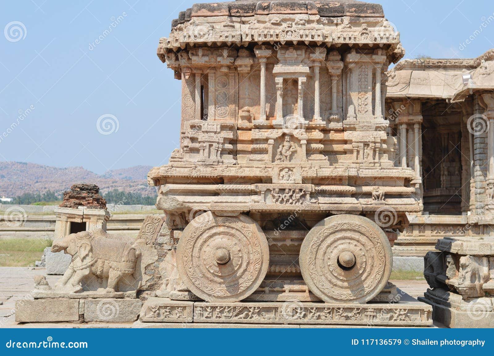 Stentriumfvagn på den Vittala templet, Hampi