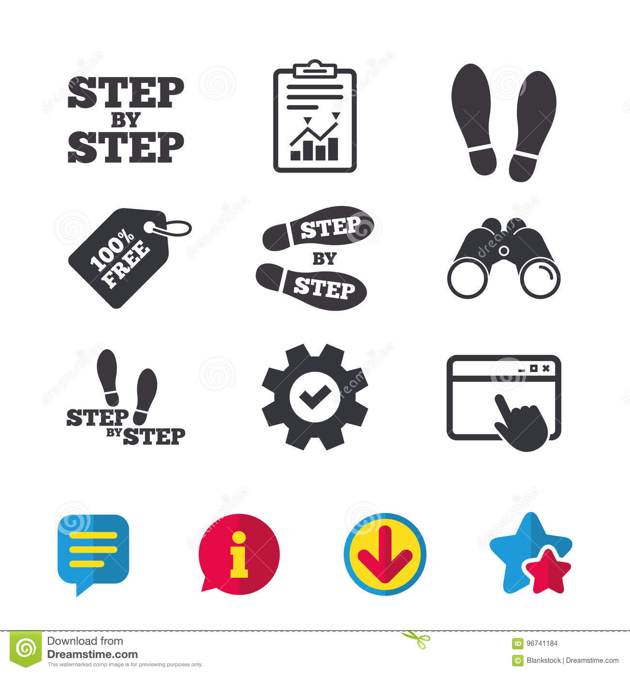 533ed71f Step Icons. Footprint Shoes Symbols. Stock Vector - Illustration of ...