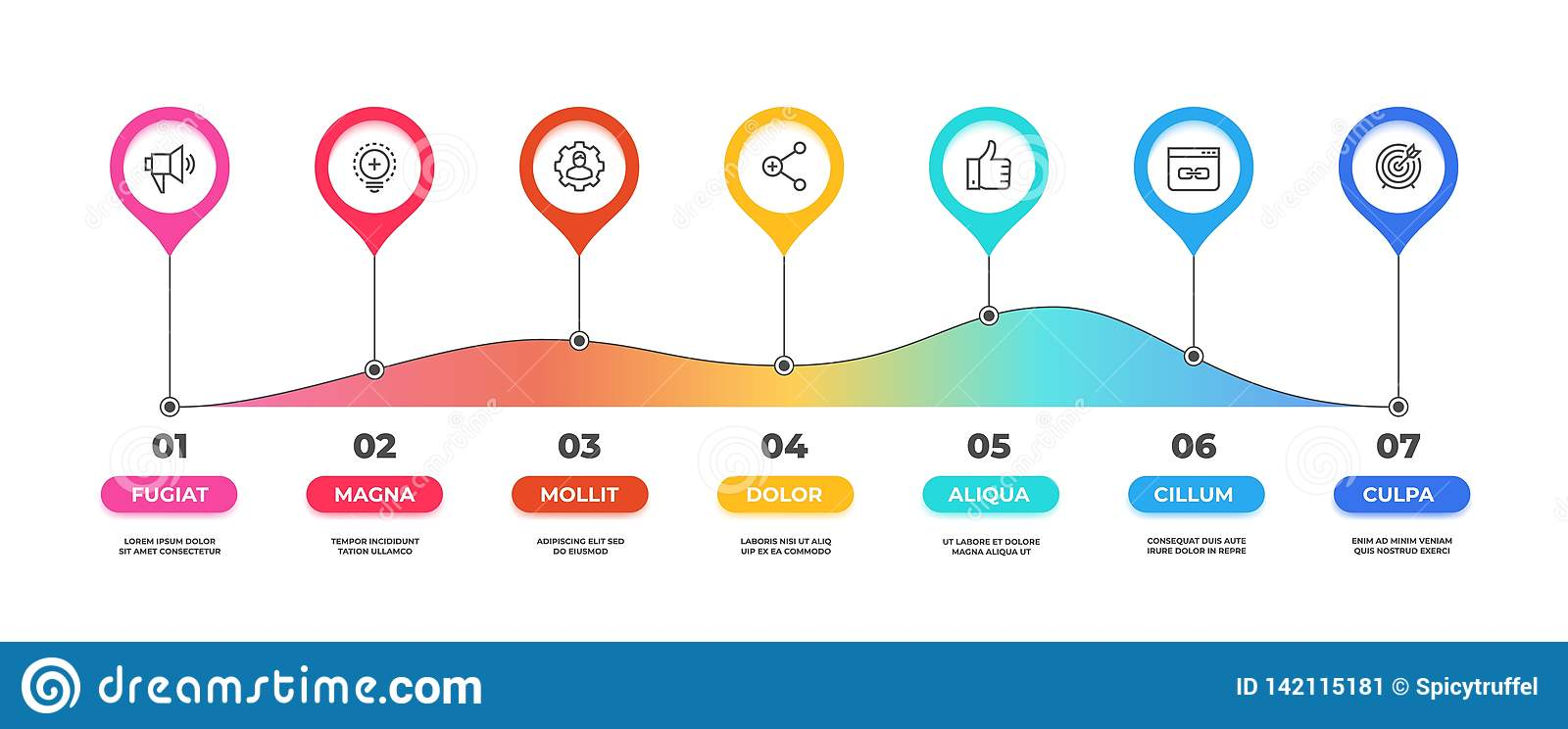 Step infographic. Option timeline diagram, business graphic chart, workflow presentation template. Vector 7 steps flow