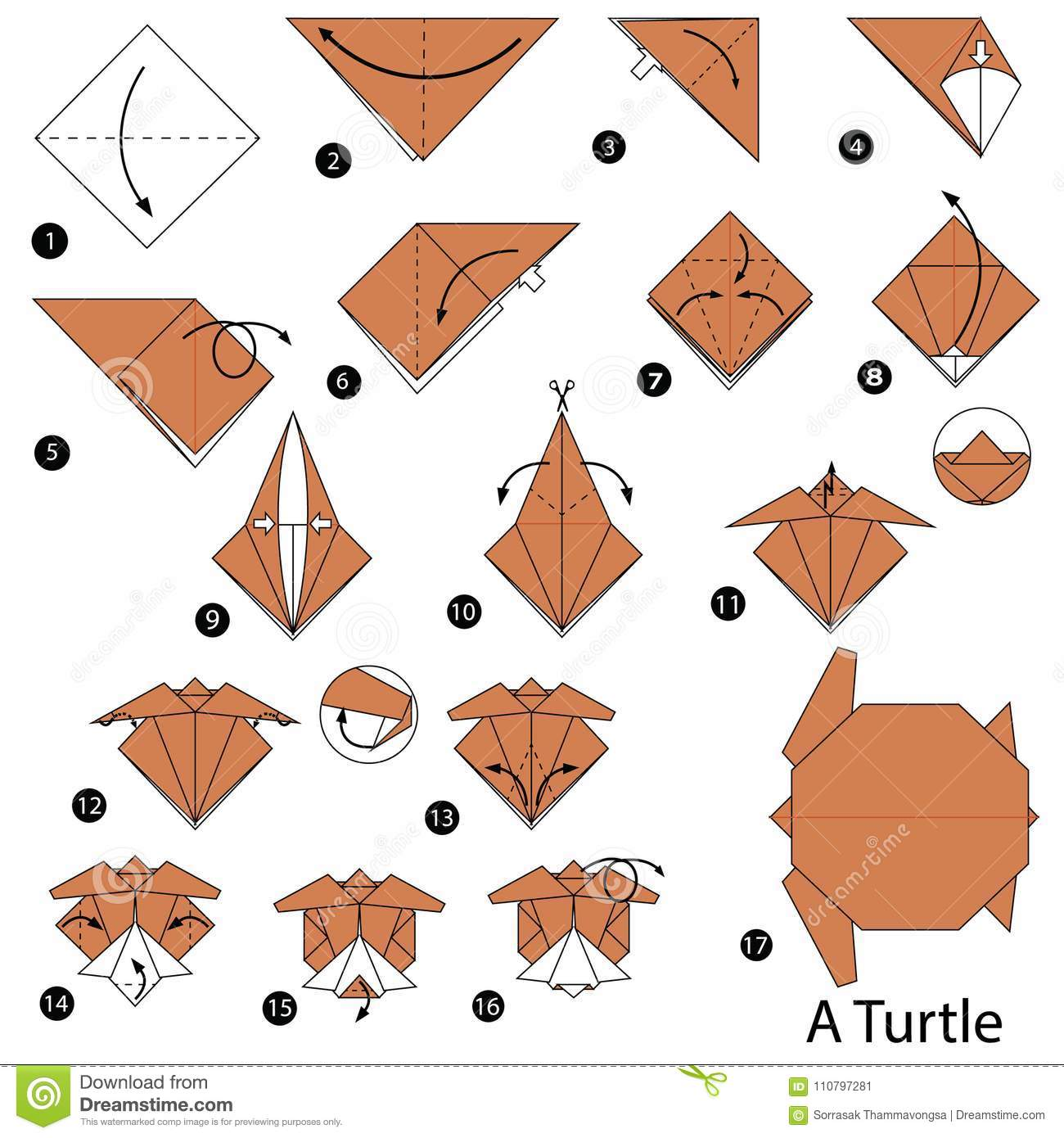 Origami Turtle Easy How To Make An Easy Origami Turtle Step By ... | 1390x1300
