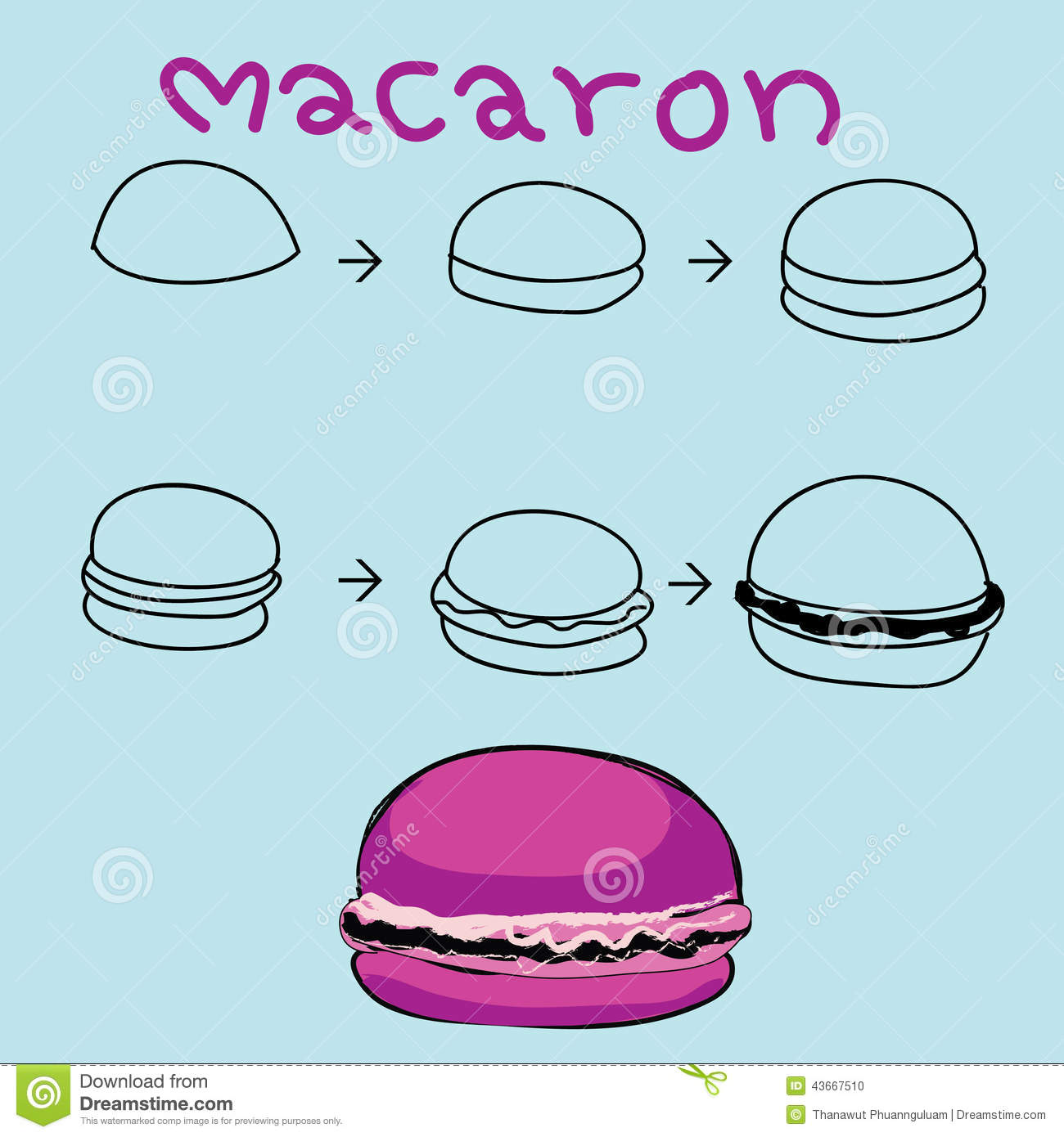 The Step Order To Draw Colorful Macaron Stock Illustration - Image ...