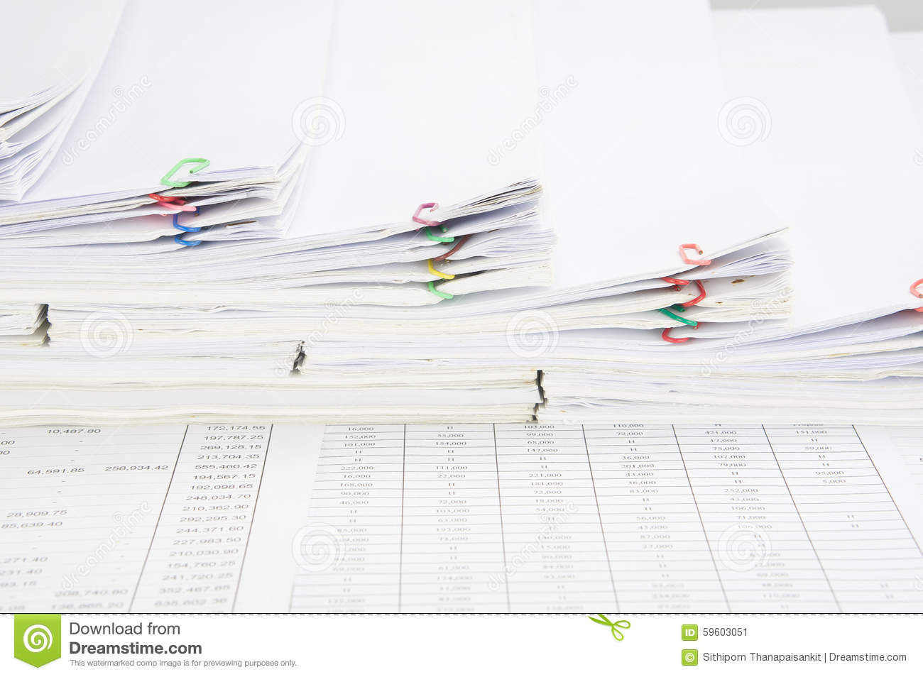 Pile Of Reports : Step pile of paperwork and paper report stock photo