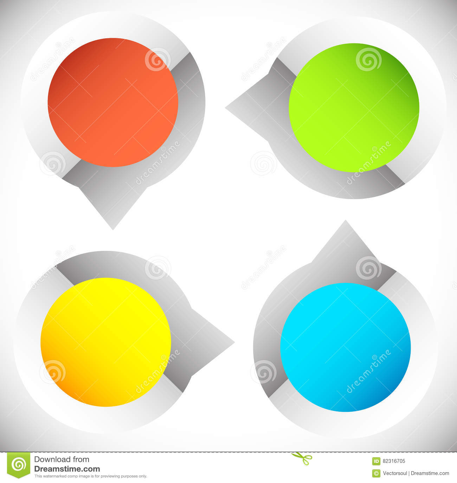4-step presentación circular, elemento del infographics Progr cíclico