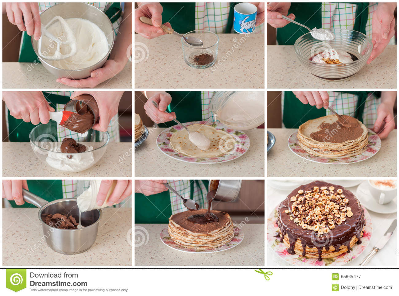 Cake Cheese Chocolate Coffee Collage Cottage Crepe Hazelnut Making Step