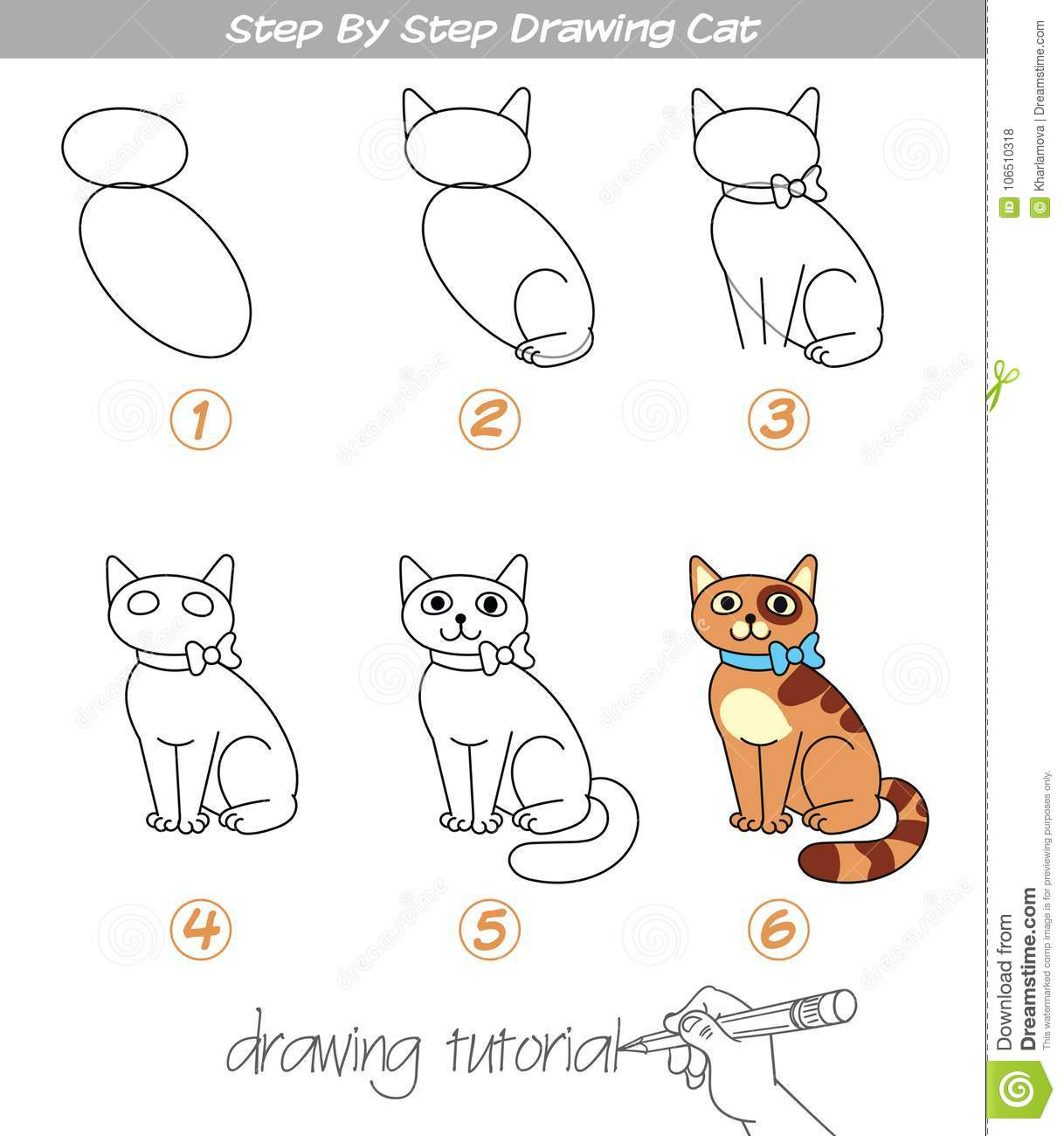 Step By Step Drawing Cat Stock Vector Illustration Of Image