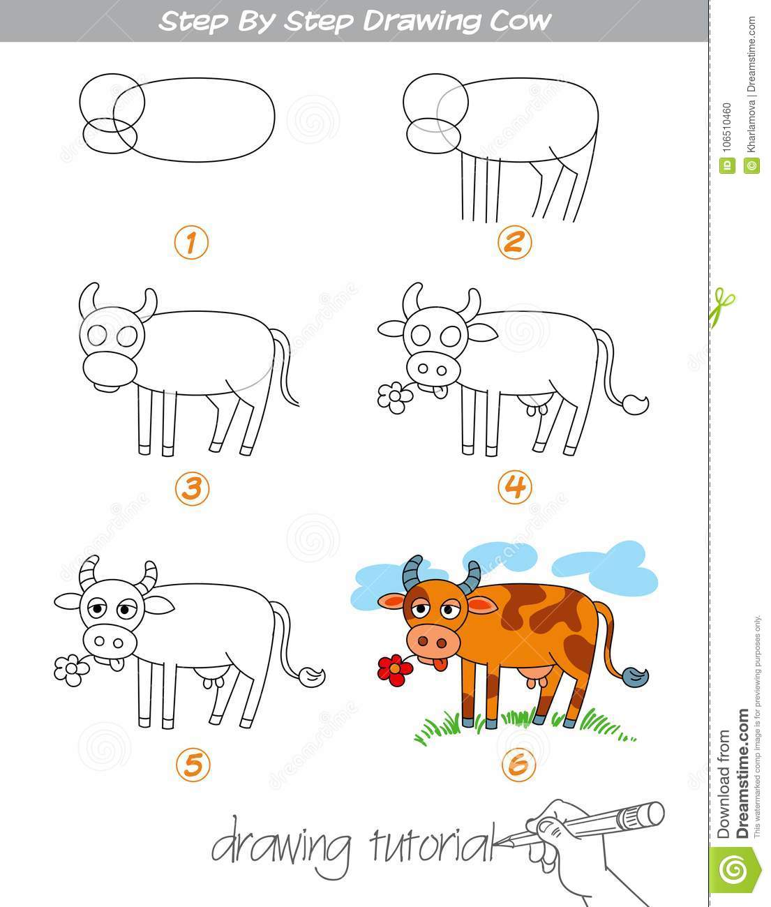 Step By Step Drawing Cow Stock Vector Illustration Of Drawing 106510460