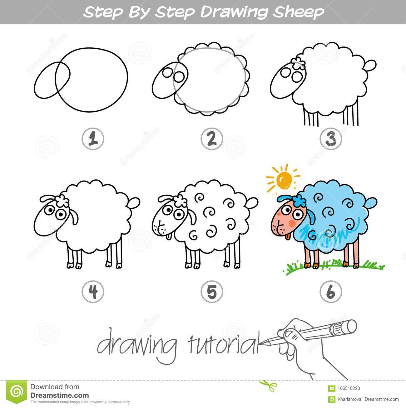 Step By Step Drawing Sheep Stock Vector Illustration Of Cartoon