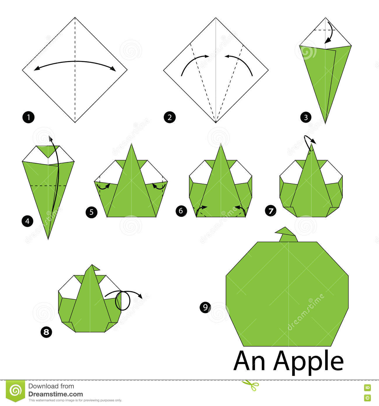step by step instructions how to make origami an apple