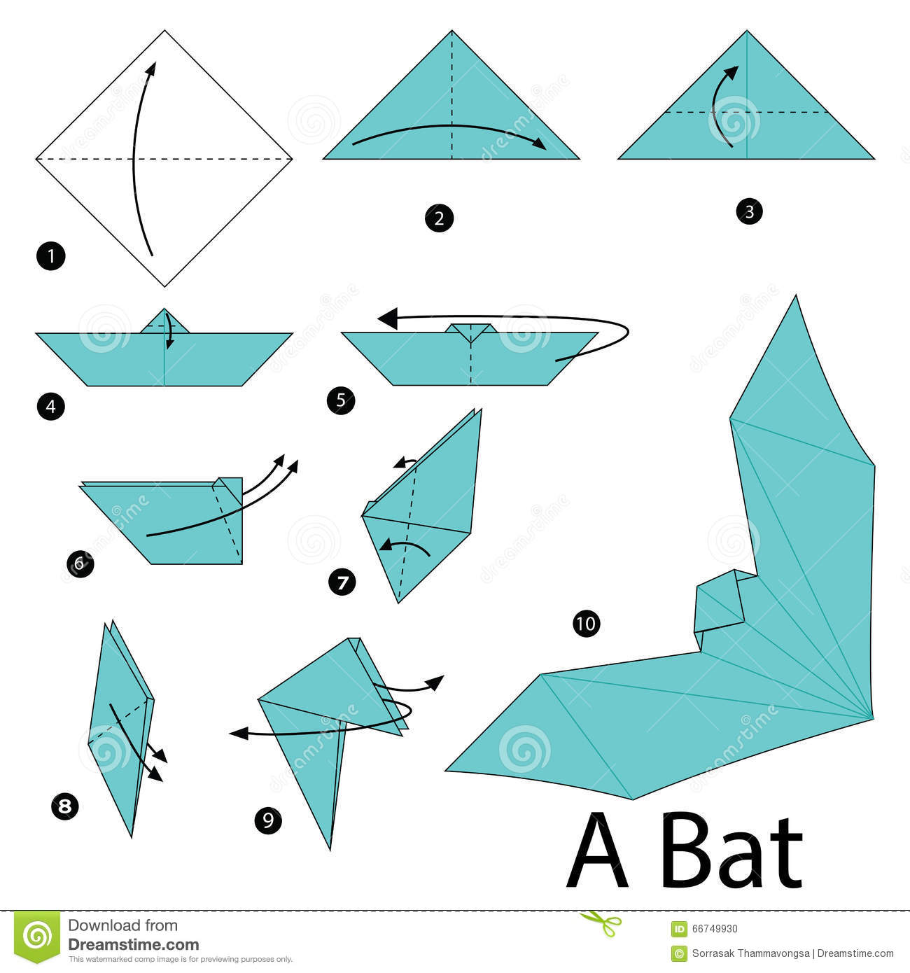 Step By Instructions How To Make Origami A Bat Stock Vector