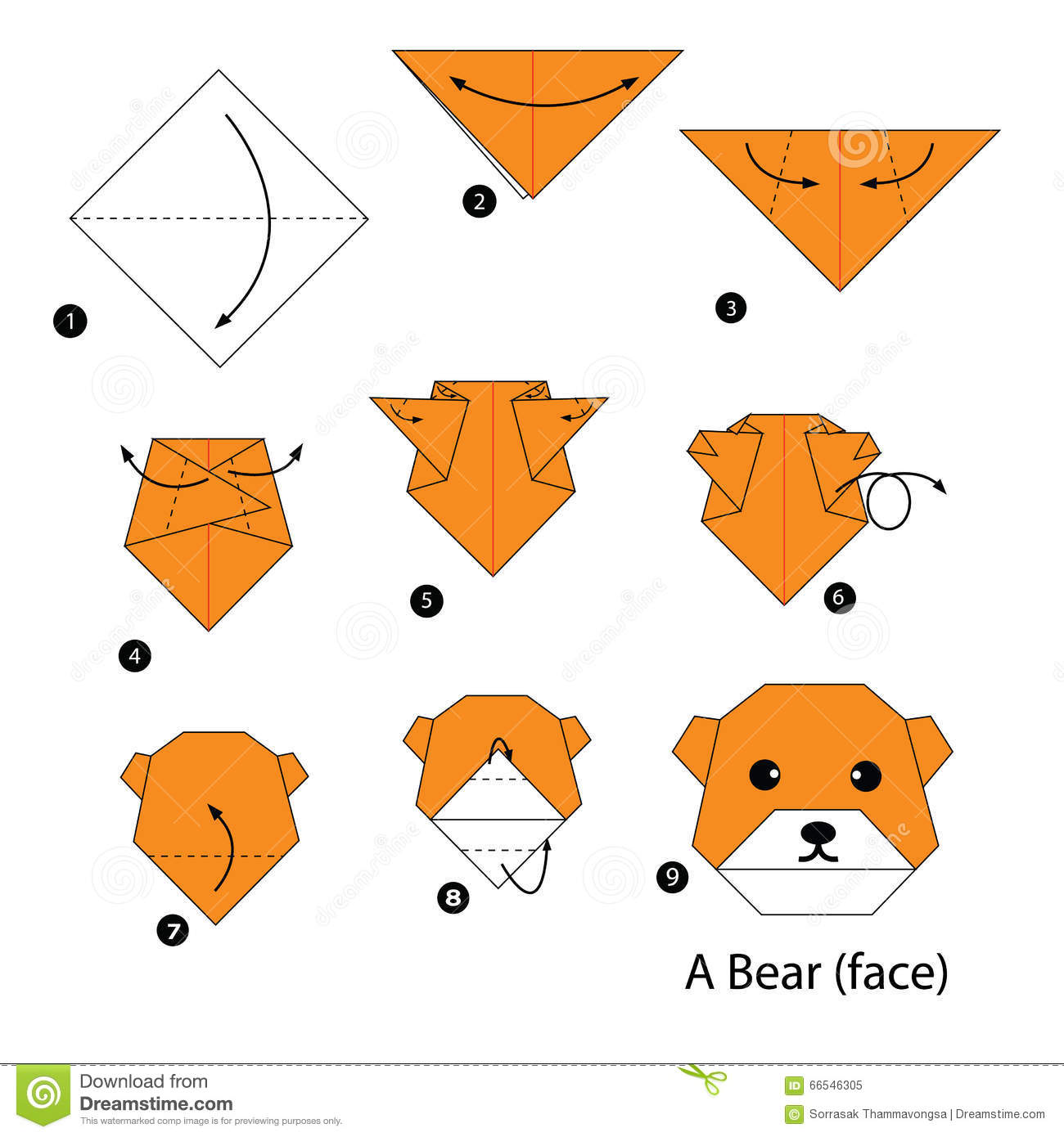 Step By Step Instructions How To Make Origami Bear. Stock ...