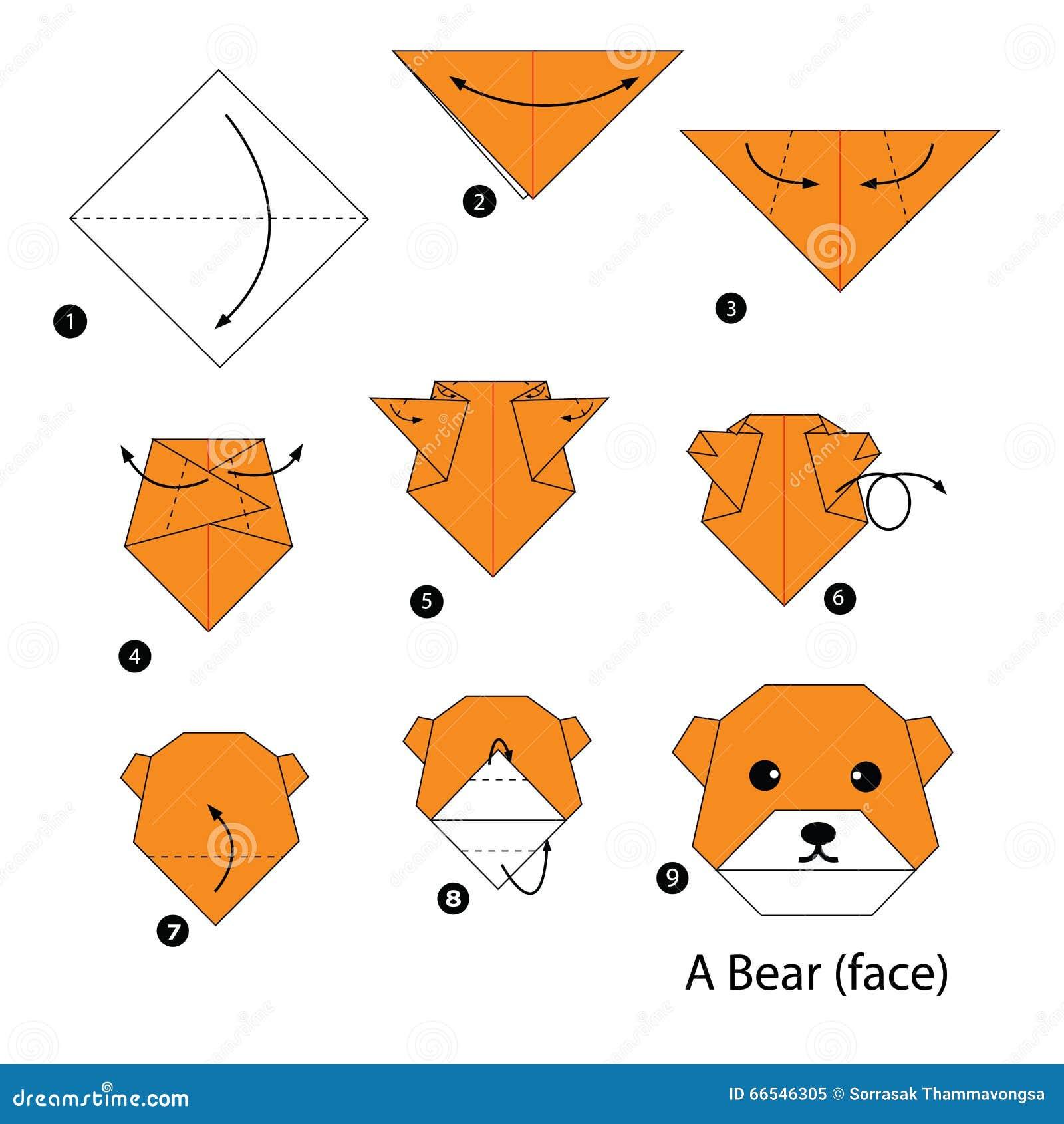 Оригами схемы 3d медведь