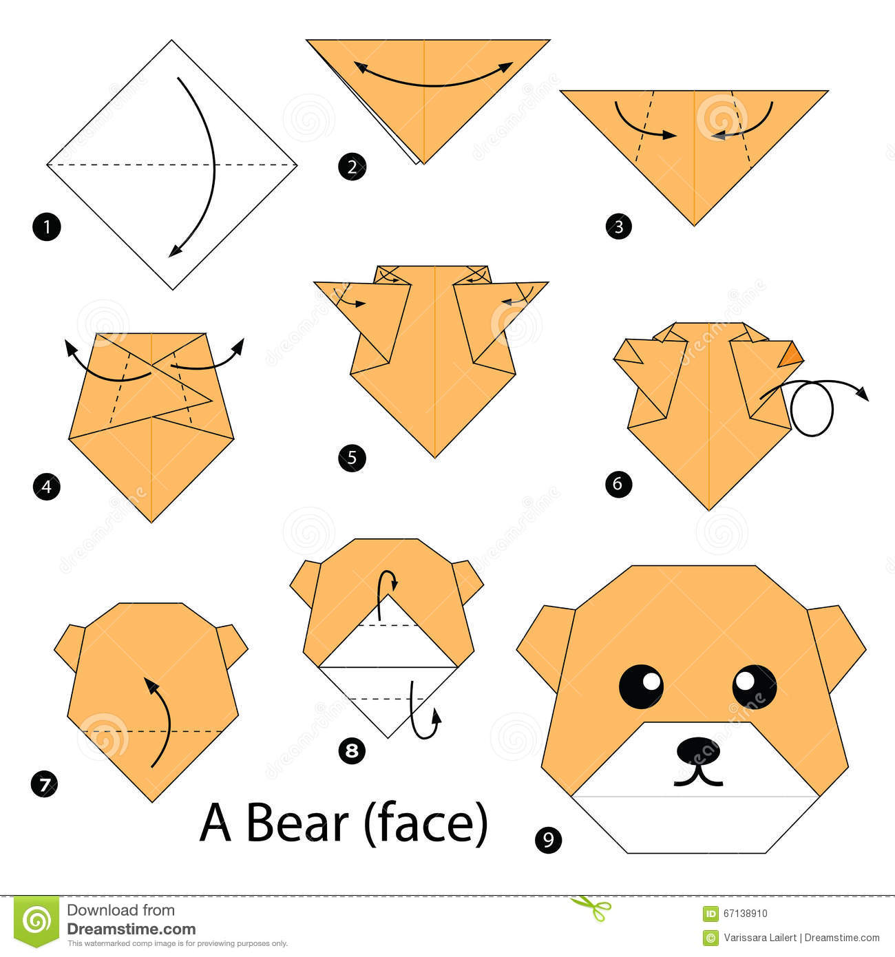 Step By Step Instructions How To Make Origami A Bear Face Stock