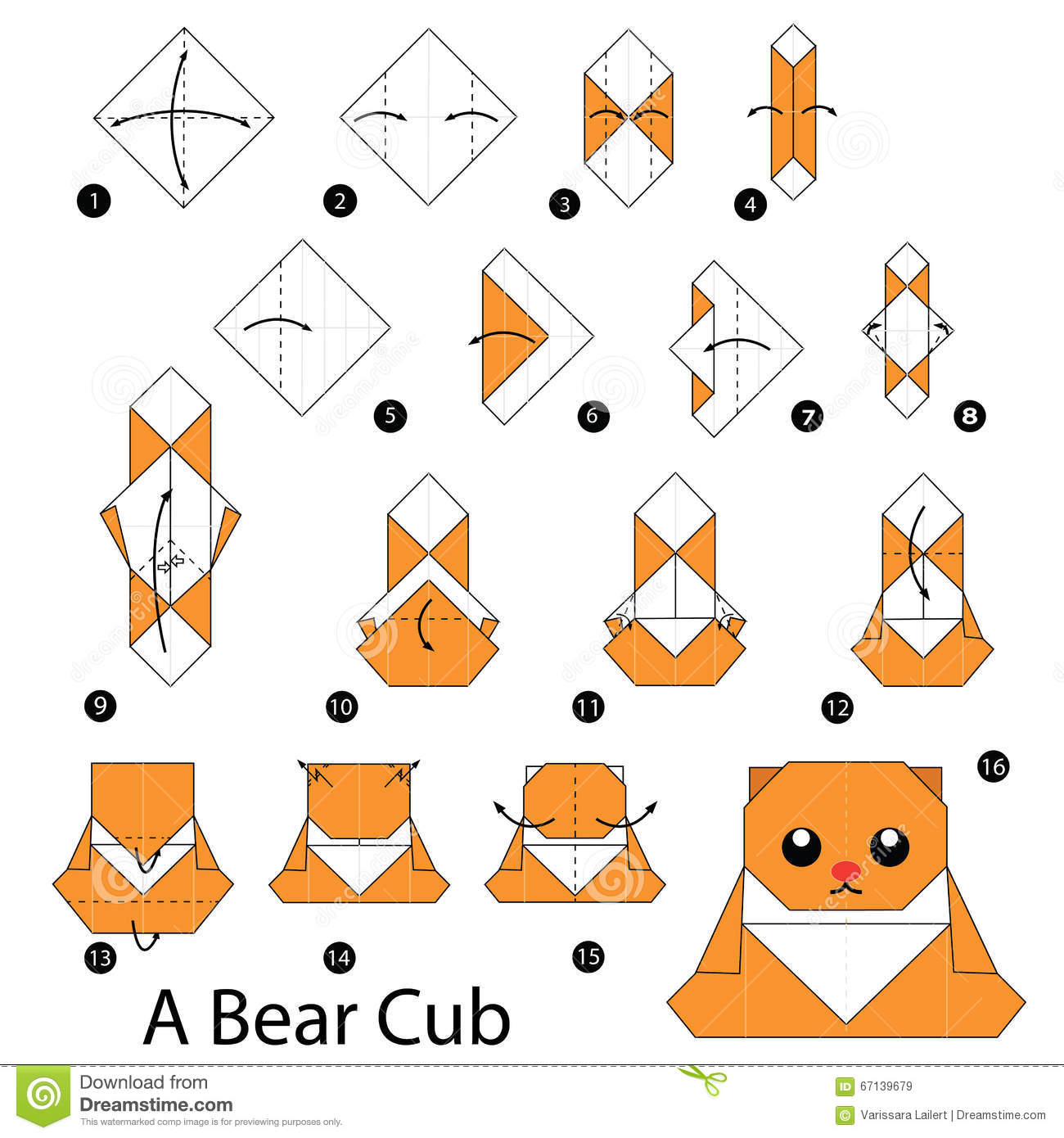 Step By Step Instructions How To Make Origami A Bear Stock Vector