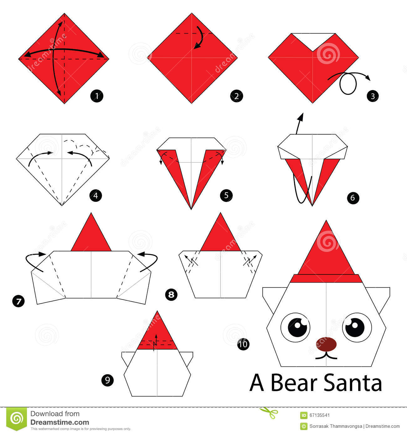 Step By Step Instructions How To Make Origami Bear Santa Stock