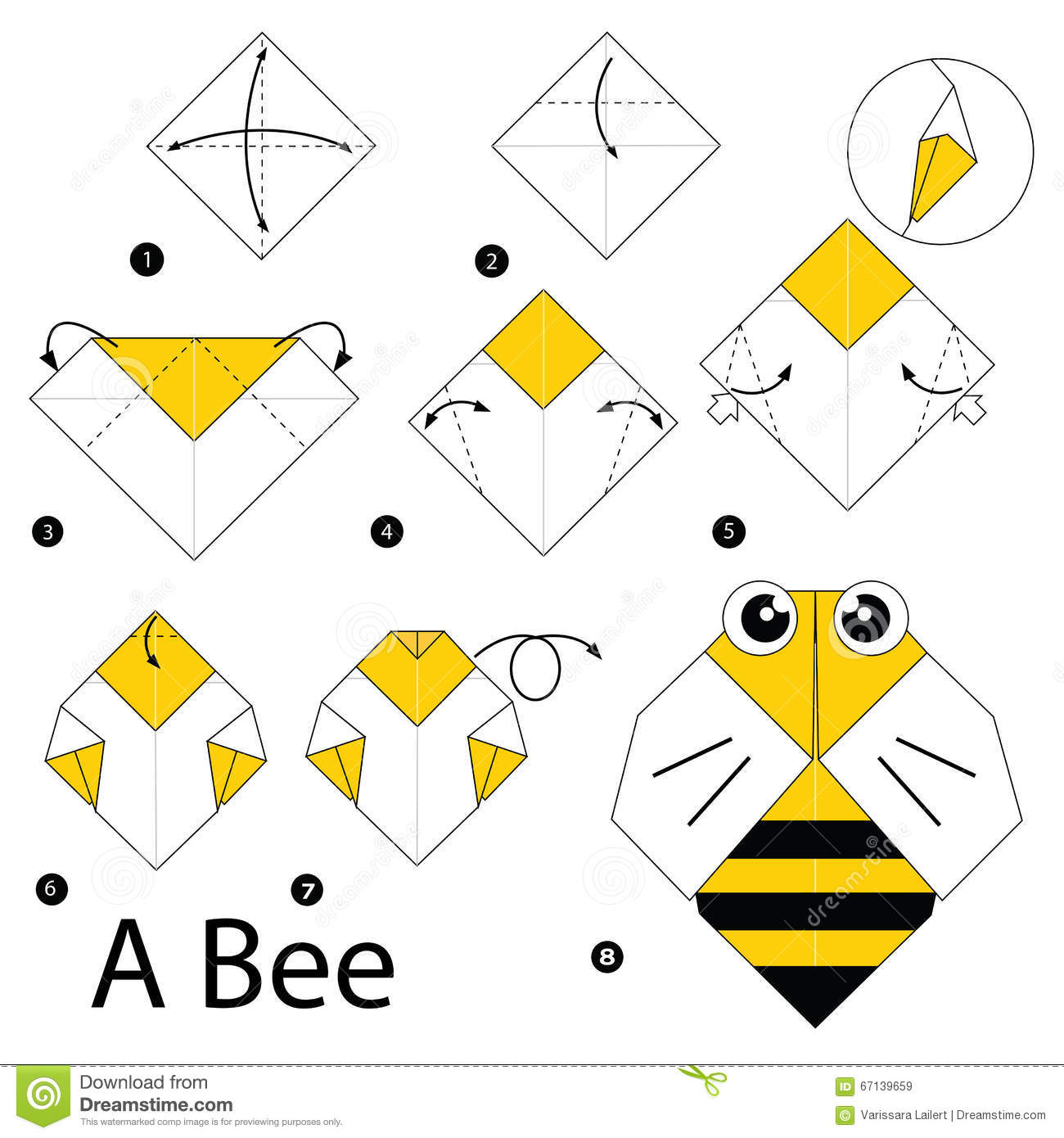 Step By Step Instructions How To Make Origami A Bee Stock Vector Illustration Of Decorative