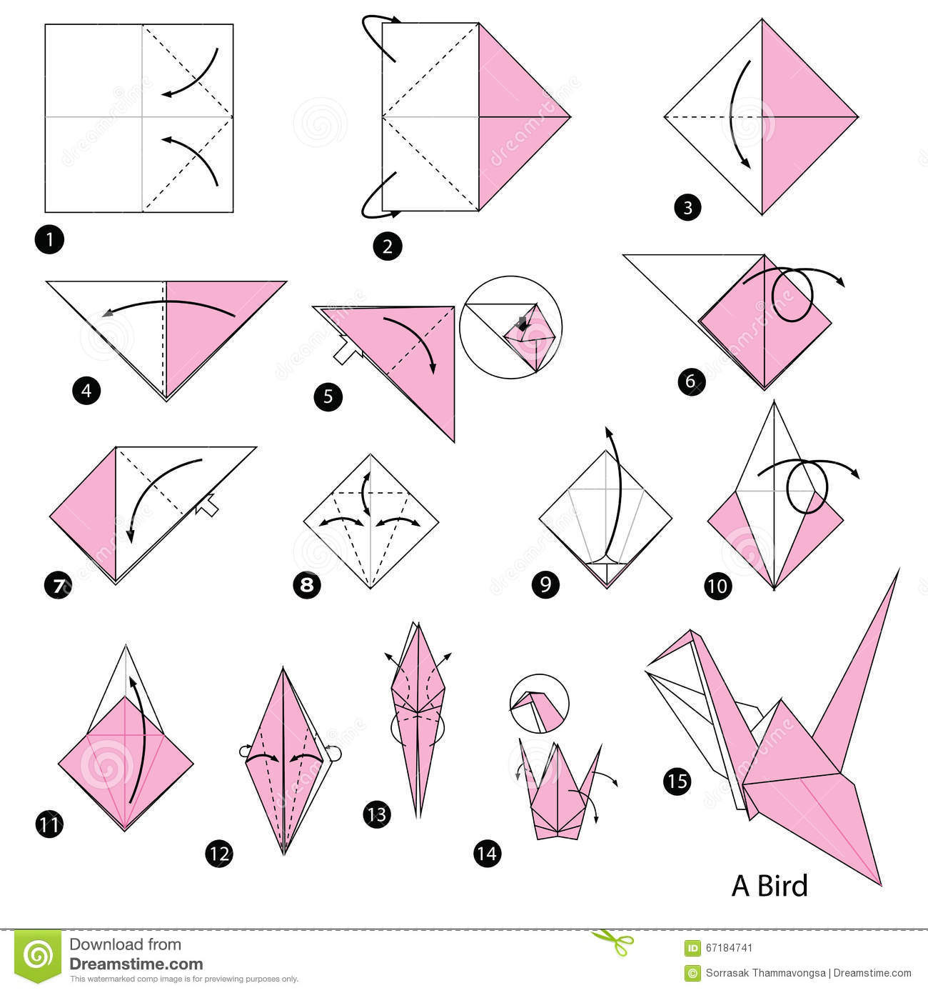 Step by step instructions how to make origami a fox stock vector step by step instructions how to make origami a bird stock image jeuxipadfo Gallery