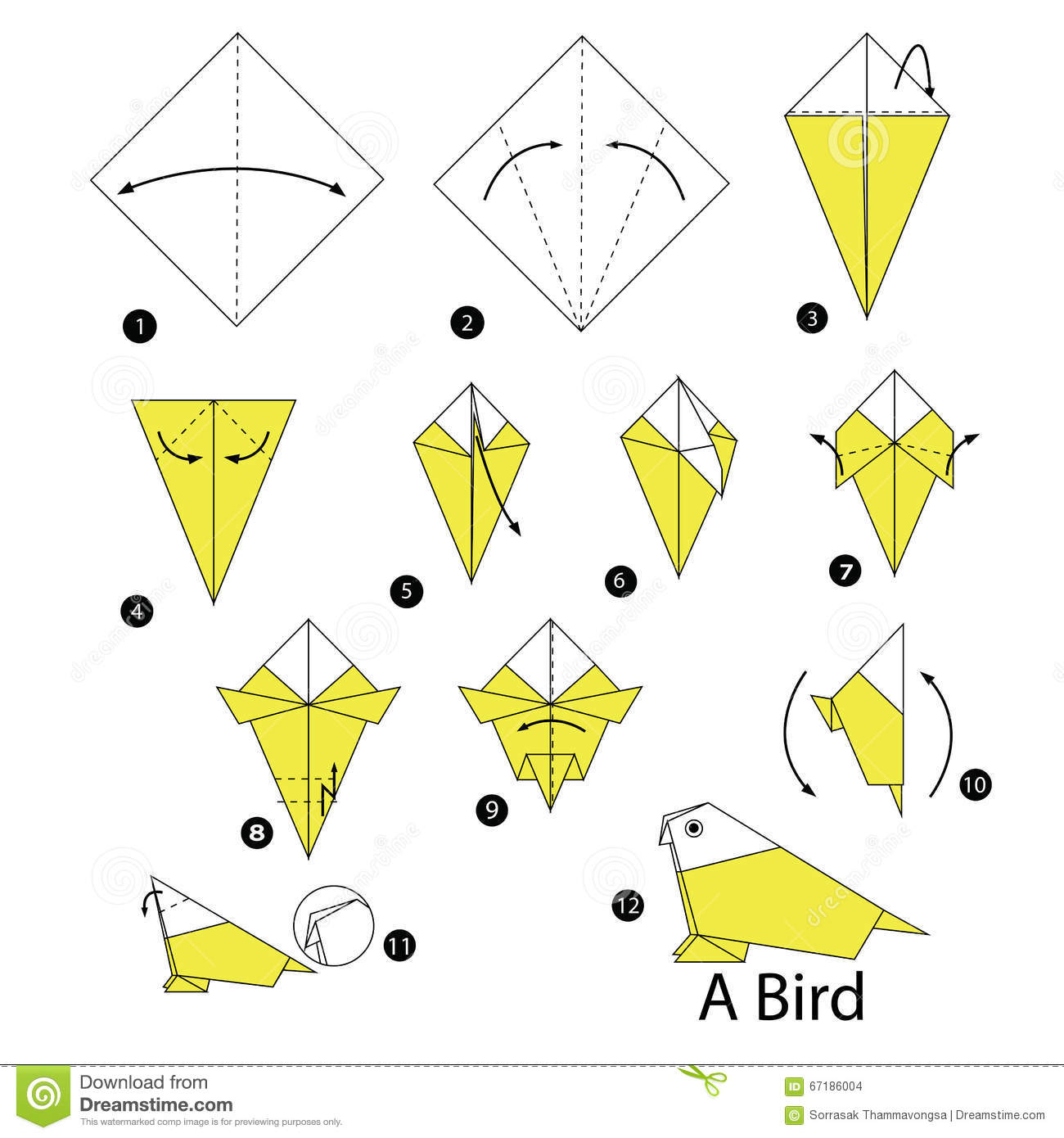 Step By Step Instructions How To Make Origami A Bird ... - photo#5