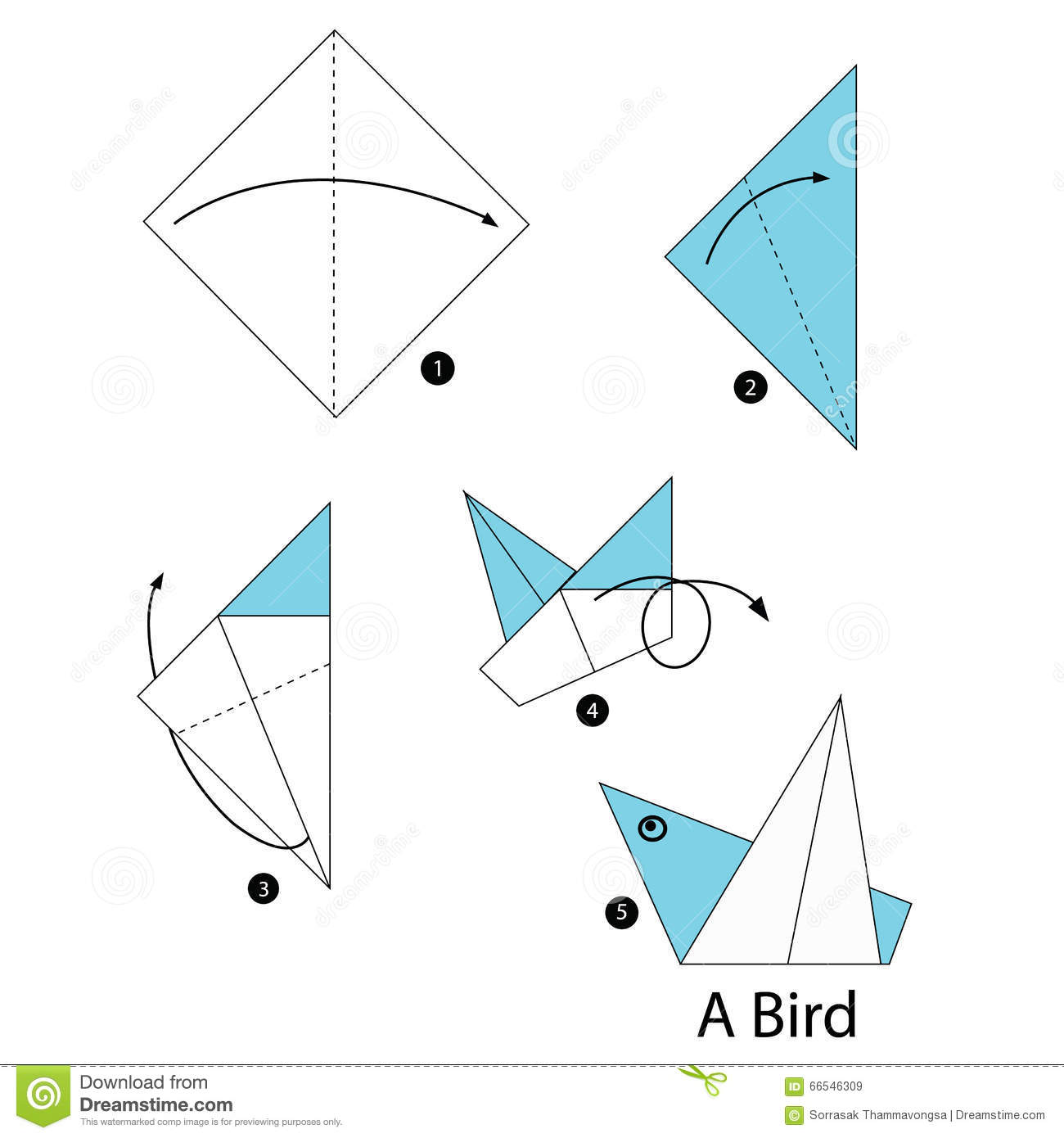 Step By Step Instructions How To Make Origami Bird. Stock ... - photo#42