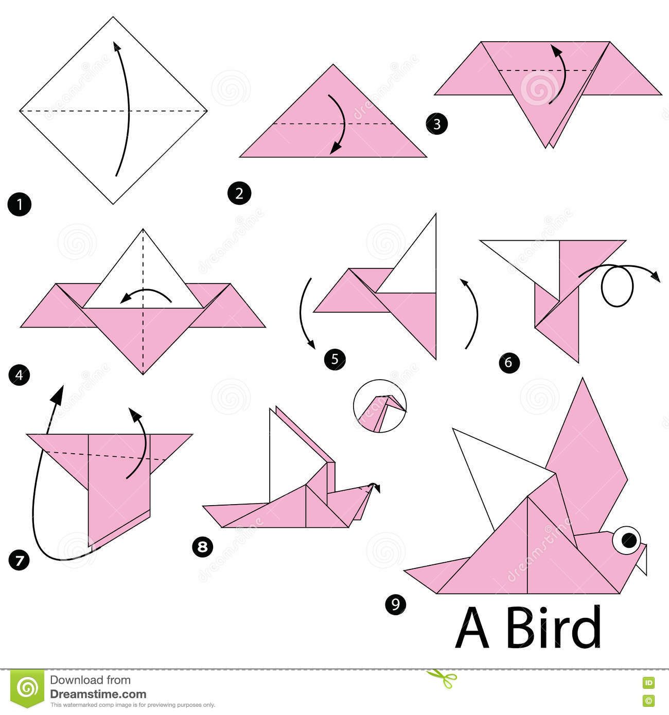 Step By Step Instructions How To Make Origami A Bird ... - photo#34