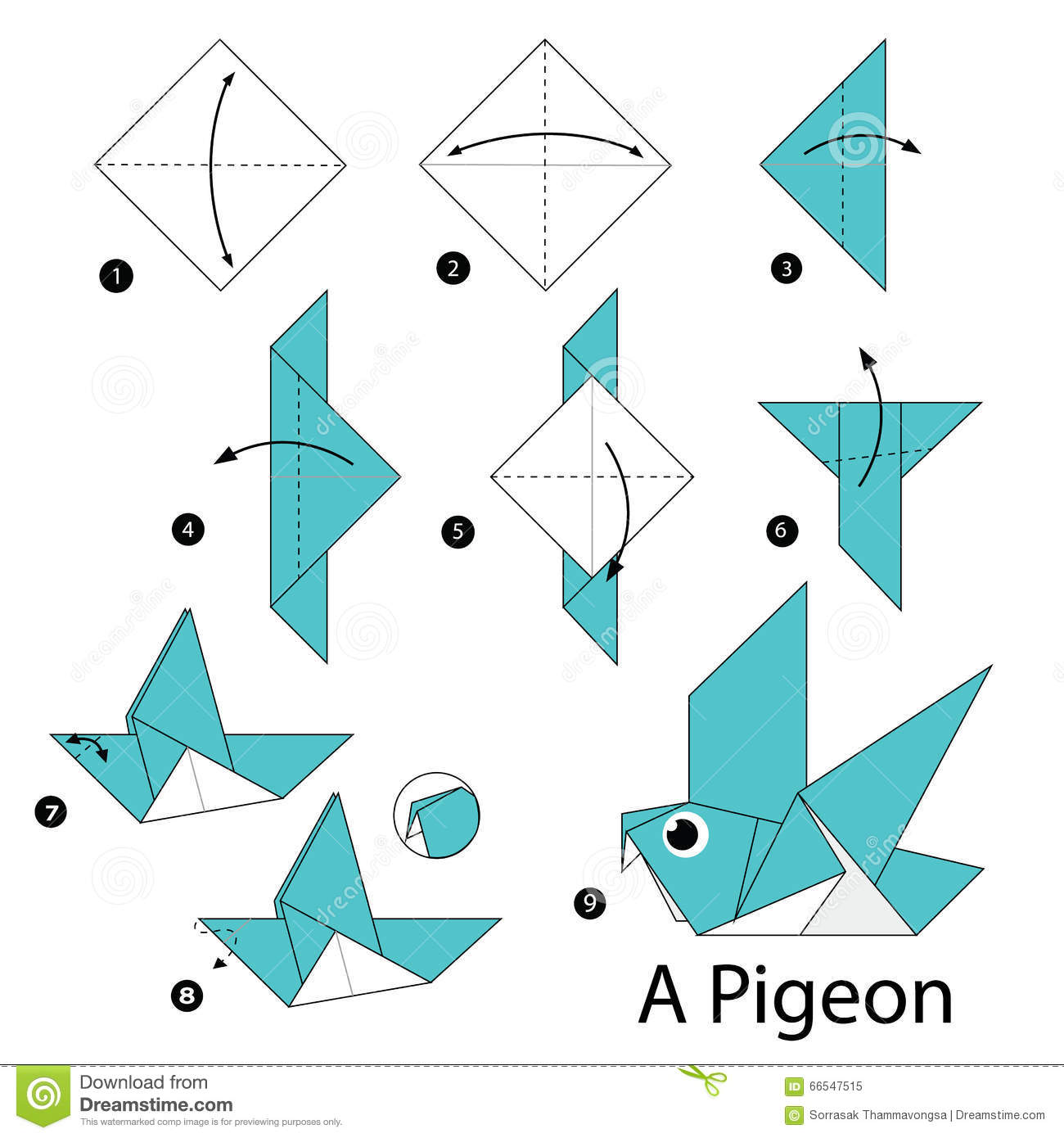 Step By Instructions How To Make Origami A Bird Stock Vector Image 66547515