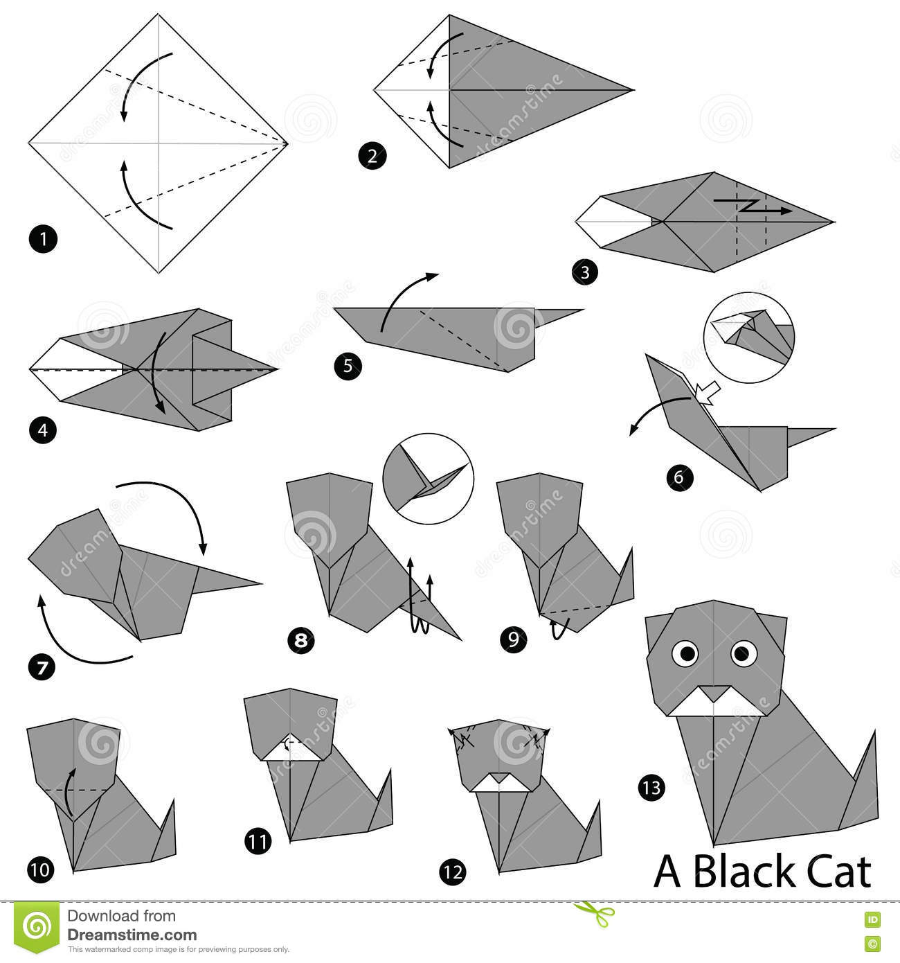 origami cat step by step tutorial origami handmade
